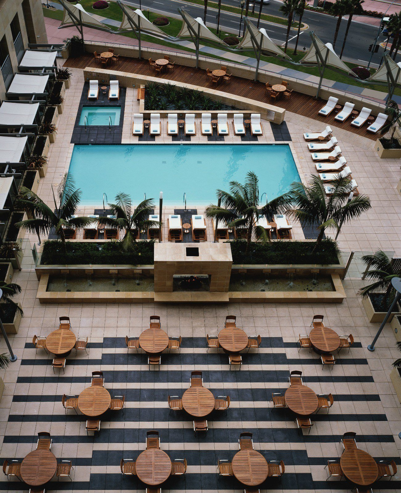 Aerial view of the pool deck and lounge at Omni San Diego Hotel.