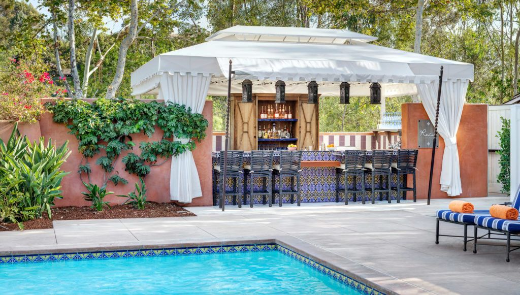 The pool bar at Rancho Valencia, one of the best San Diego luxury hotels.