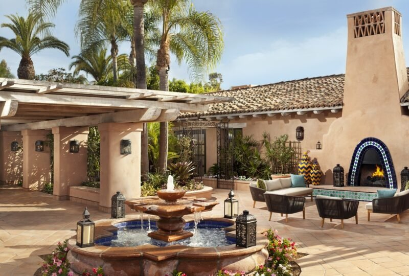 A courtyard at Rancho Valencia, one of San Diego's best luxury resorts.