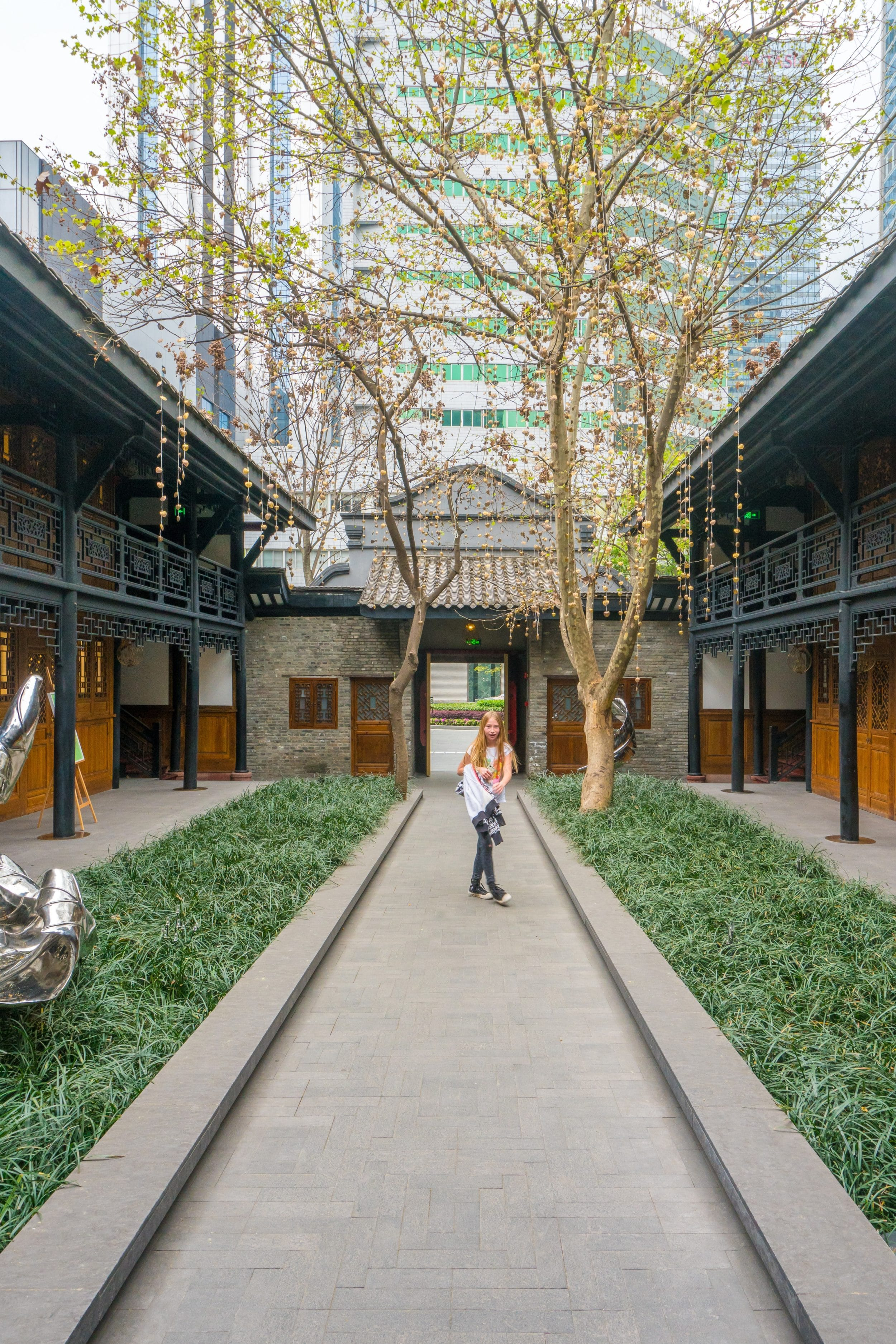 The Bitieshi courtyard at The Temple House, a luxury hotel in Chengdu.