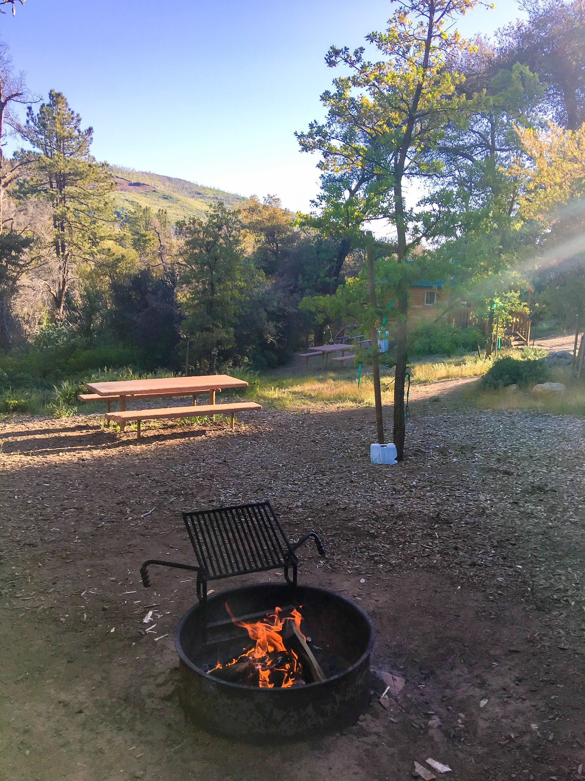 A campfire at William Heise County Park in Julian, CA