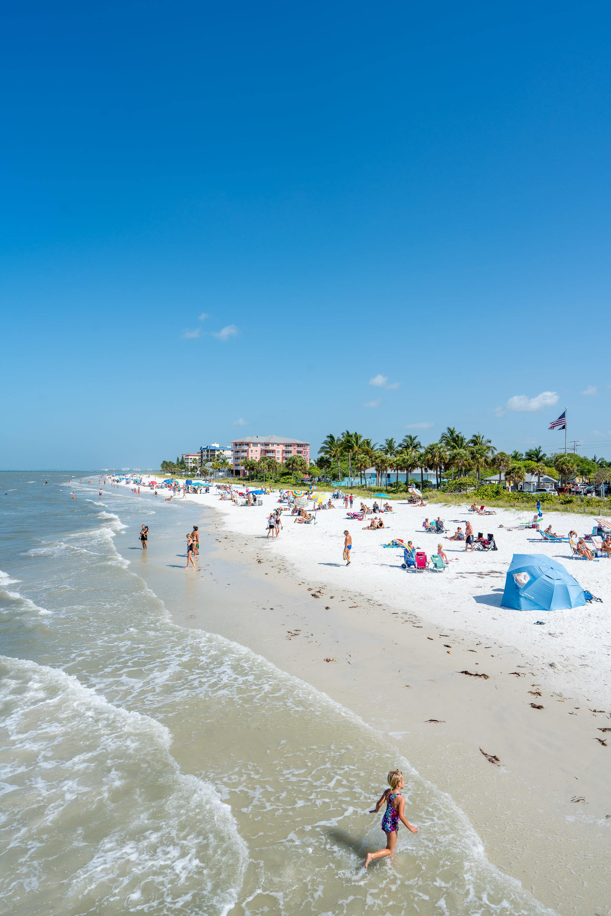 Enjoying Fort Myers Beach near the pier is a popular thing to do.