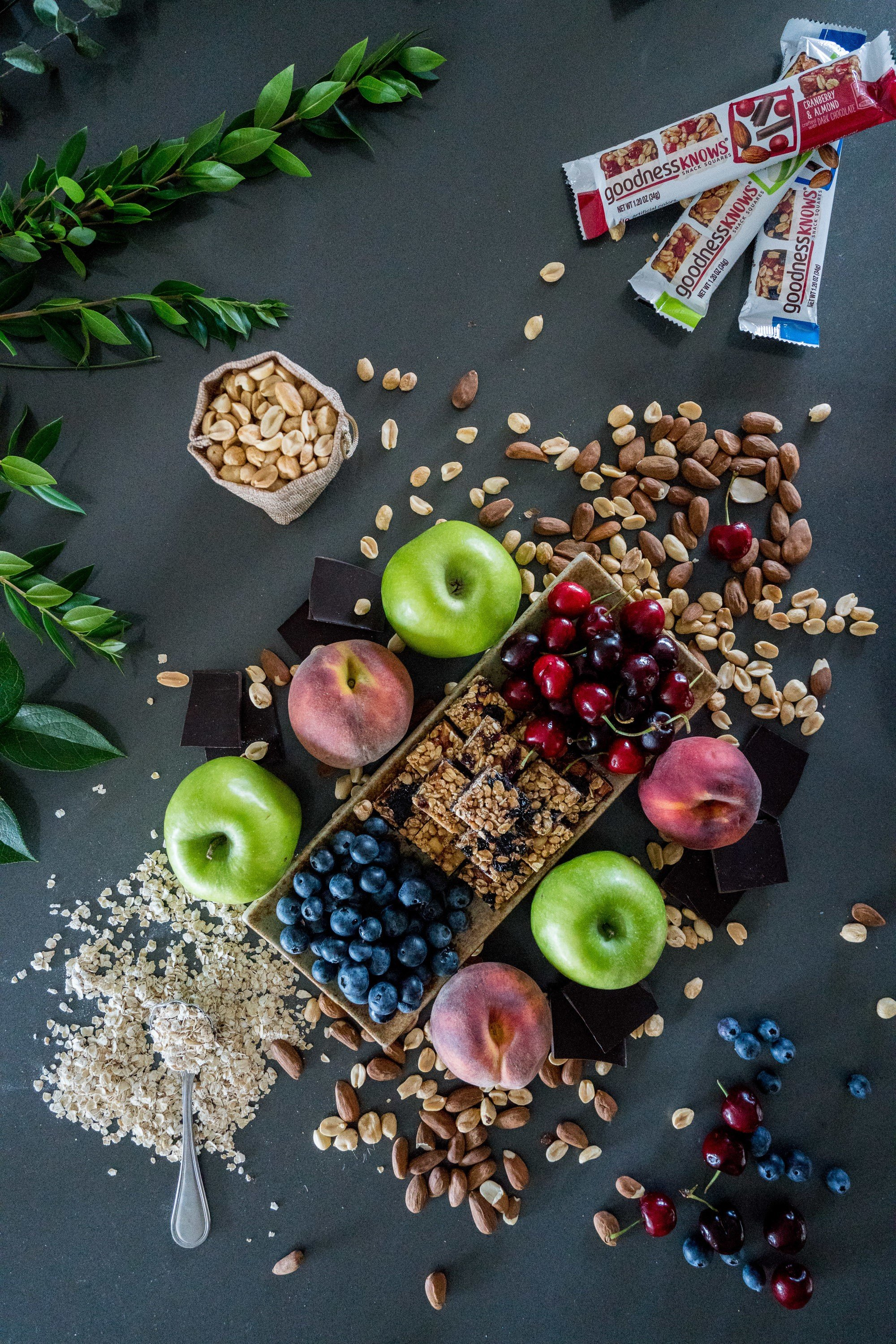 Fruit, nuts, oats and chocolate... what's inside a goodnessknows snack square.