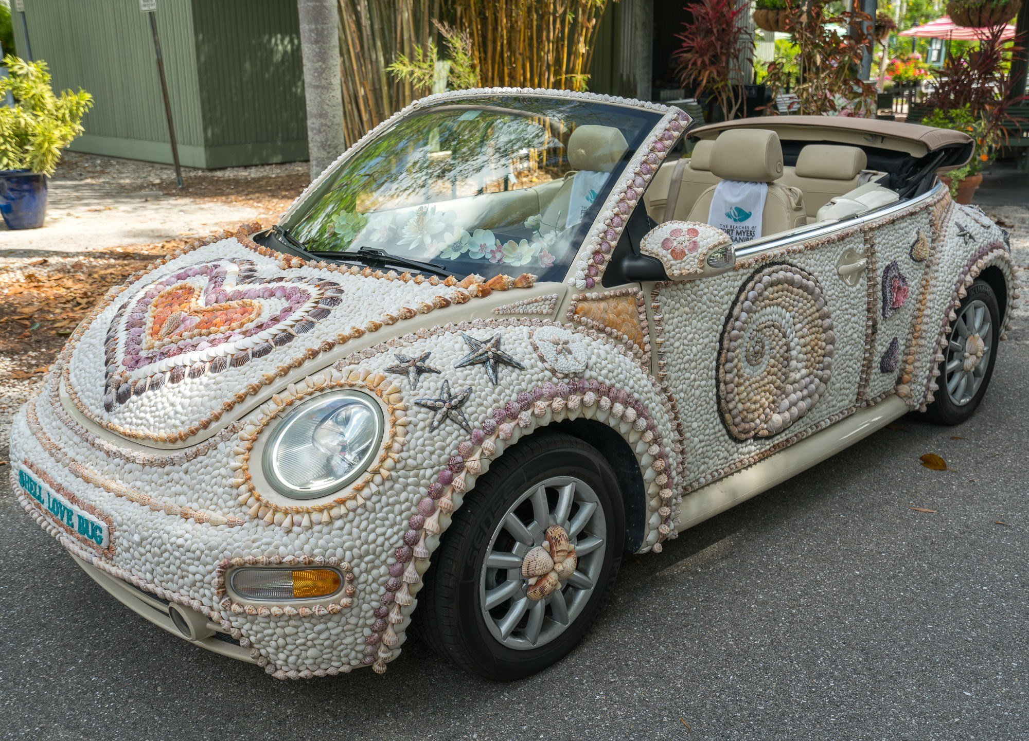 The Shell Love Bug is a Volkswagon Beetle covered in 20,000 shells.