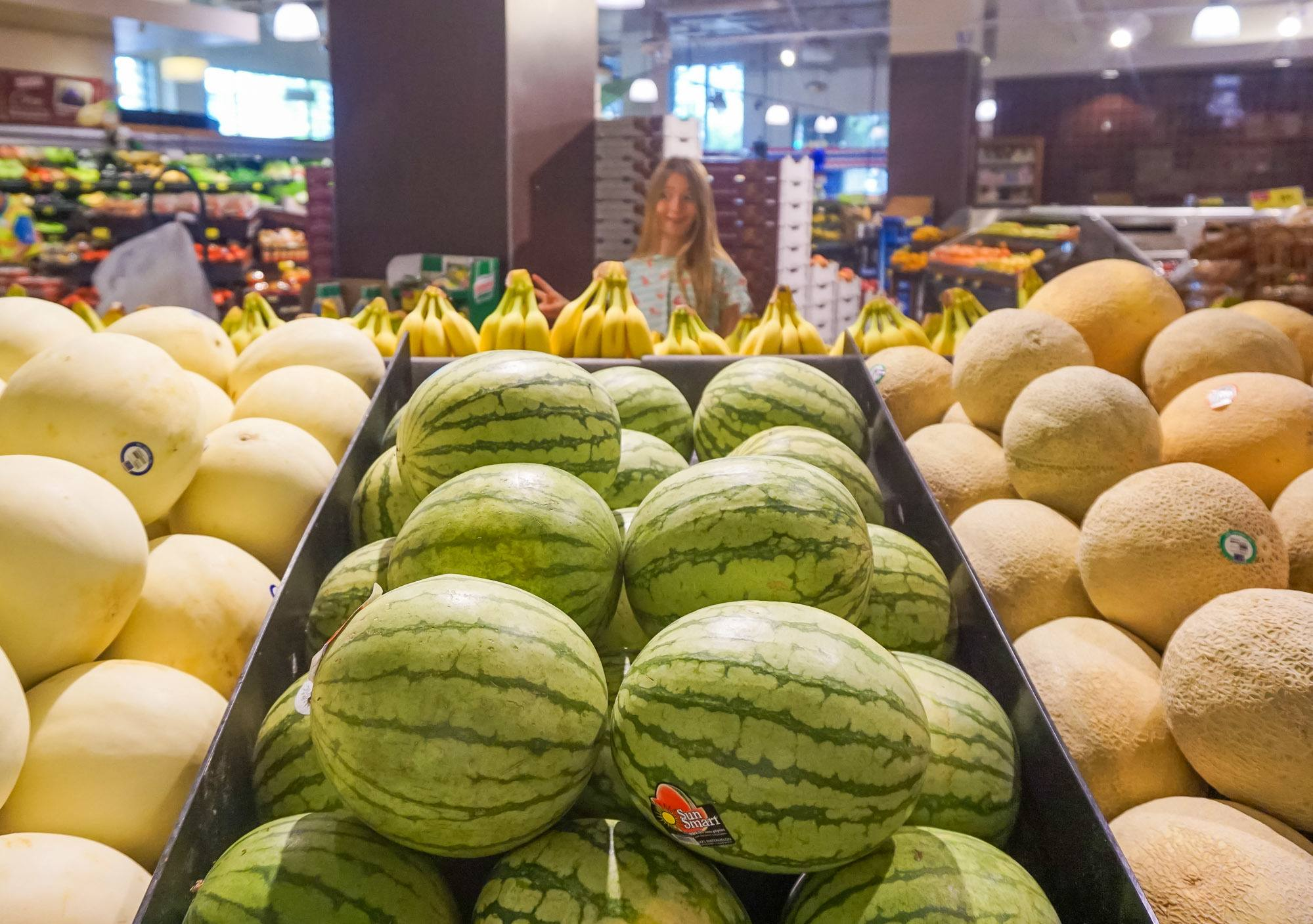 Mini watermelons inside Albertsons San Diego.