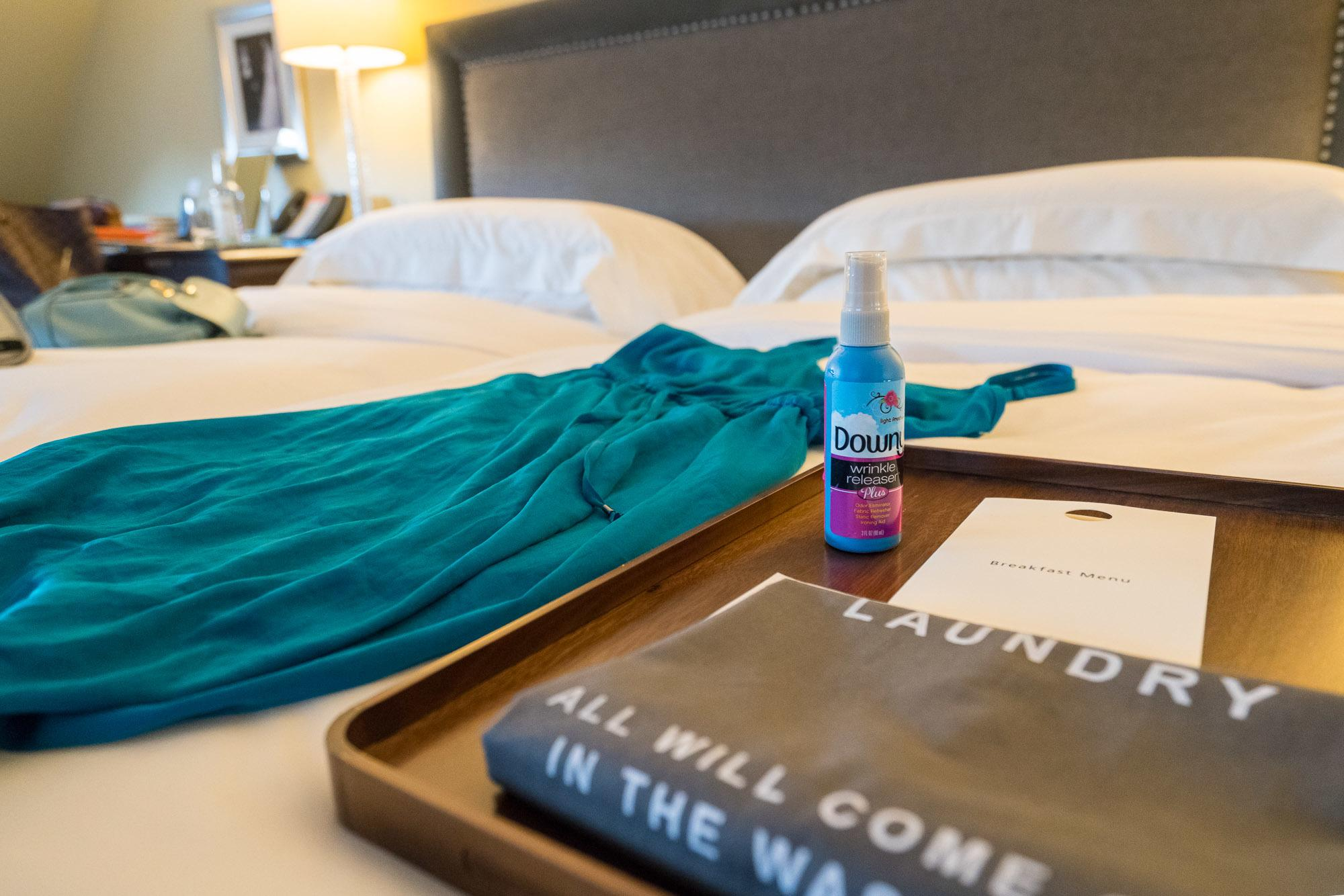 Downy Wrinkle Release is a must-have travel item.