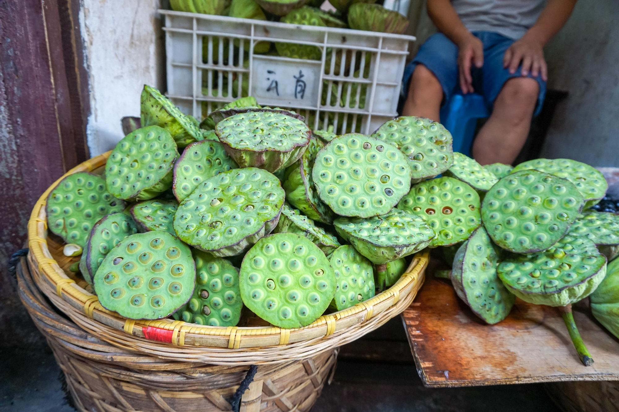 Lotus fruit are popular asian fruits where the seeds in the giant pod at the center of the flower have a lovely sweet fruit.