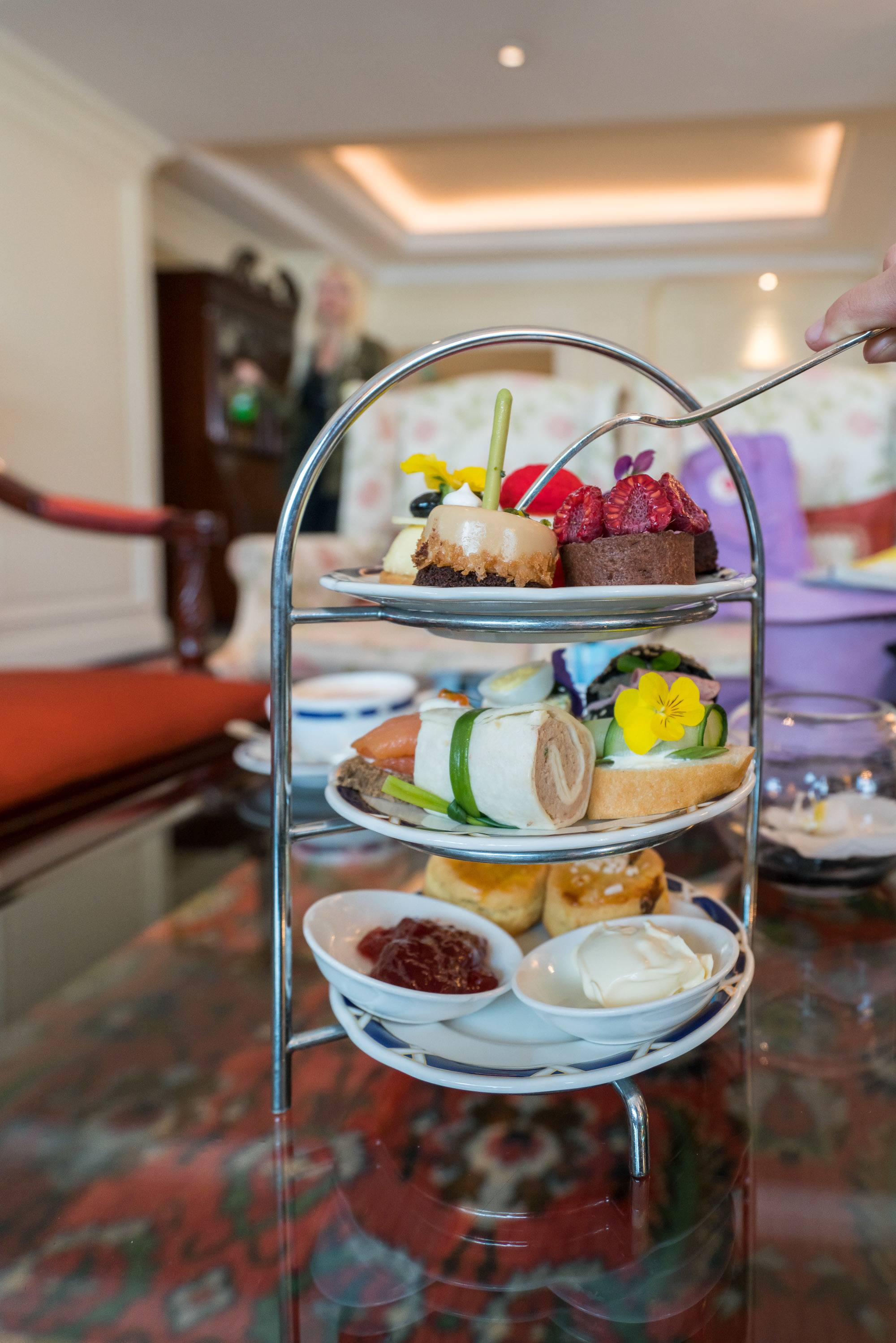 A Club Lounge afternoon tea set at The Ritz-Carlton, Beijing.