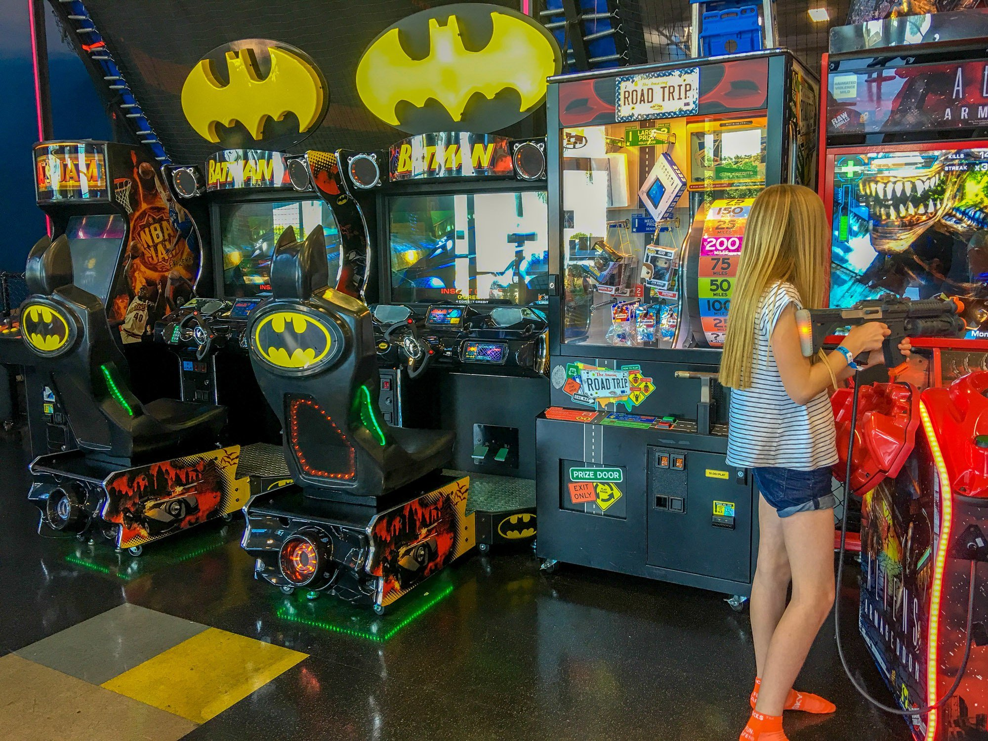 Sky Zone San Diego has video games in addition to being a trampoline park.