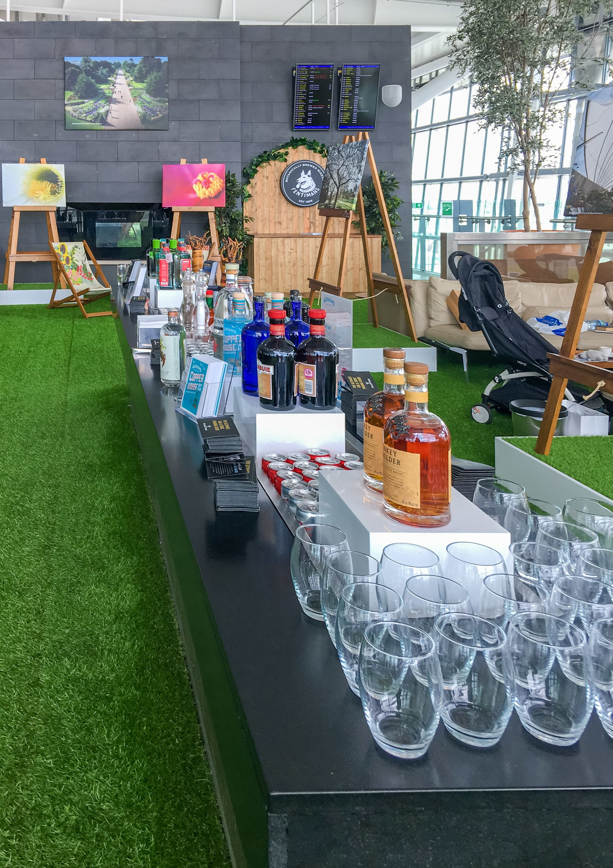 The Kew Garden gin garden at the British Airways Galleries Lounge at London Heathrow Airport.