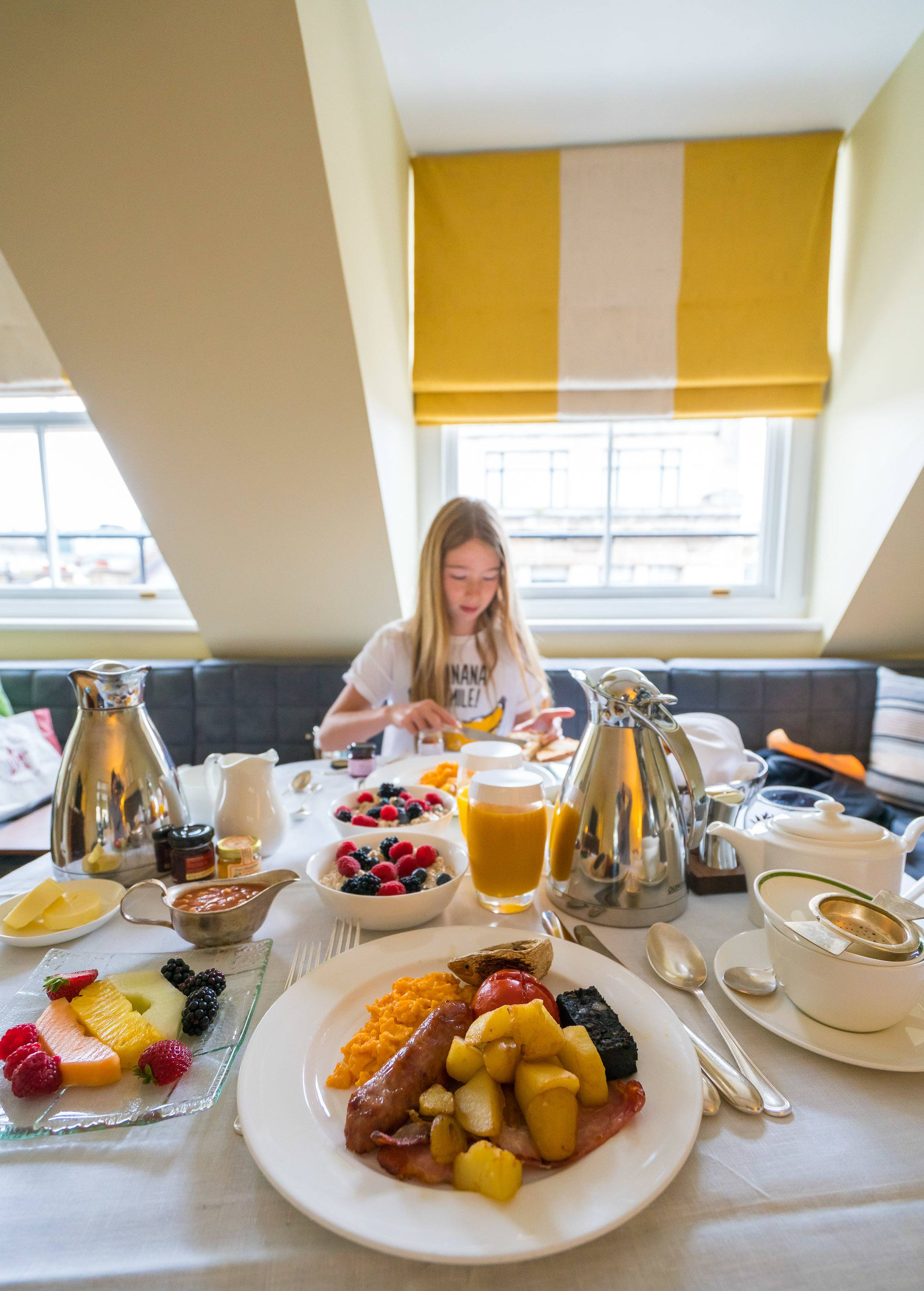 A full English breakfast via in-room dining at Brown's Hotel in London.