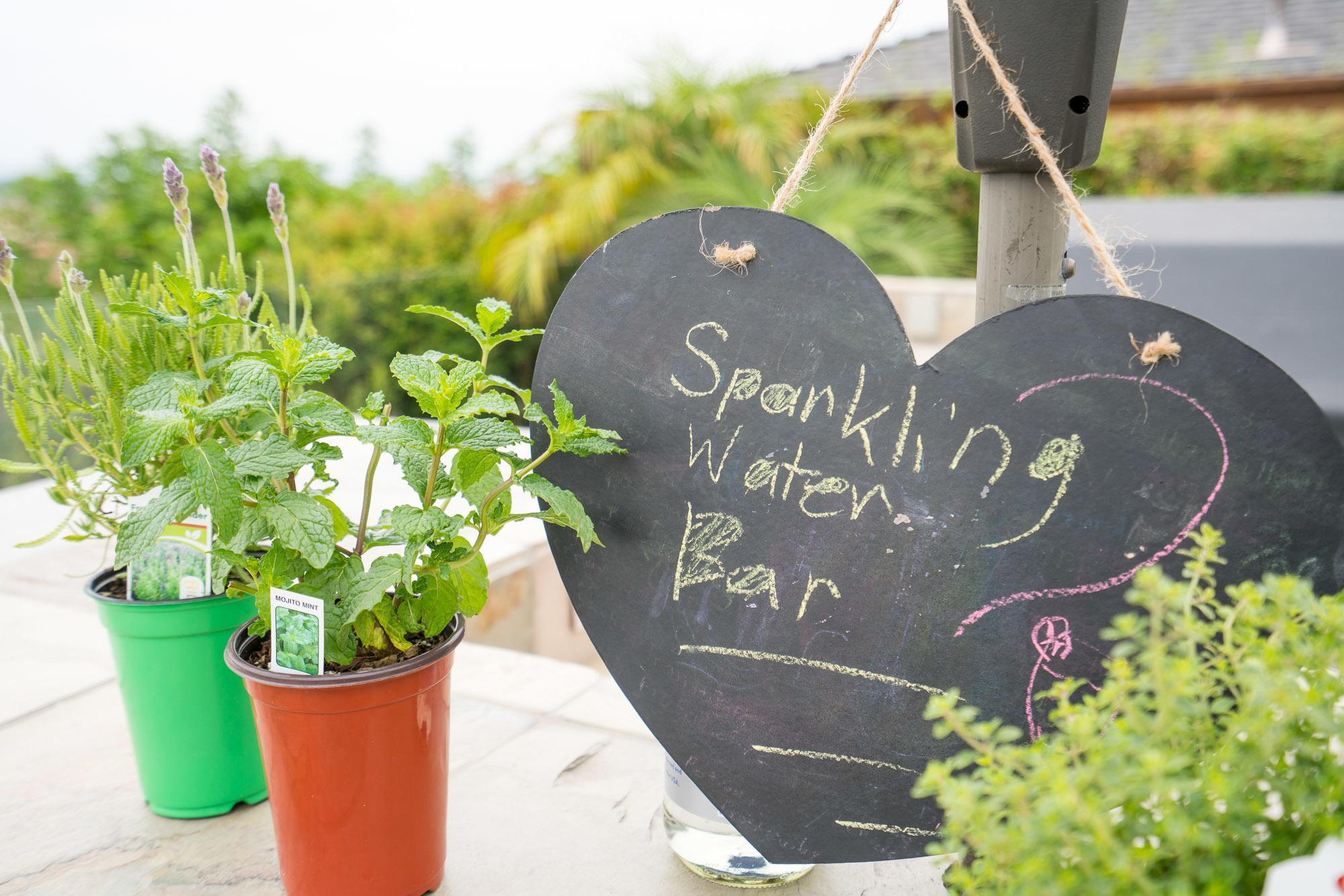 Pluck herbs and put them in sparkling water drinks!