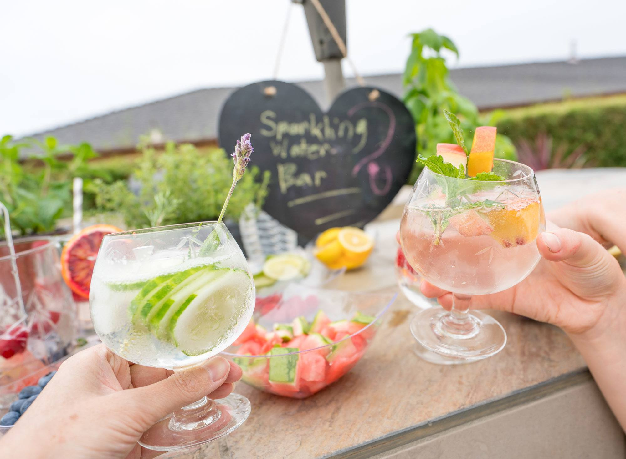 Make a sparkling water bar for a fun party idea.