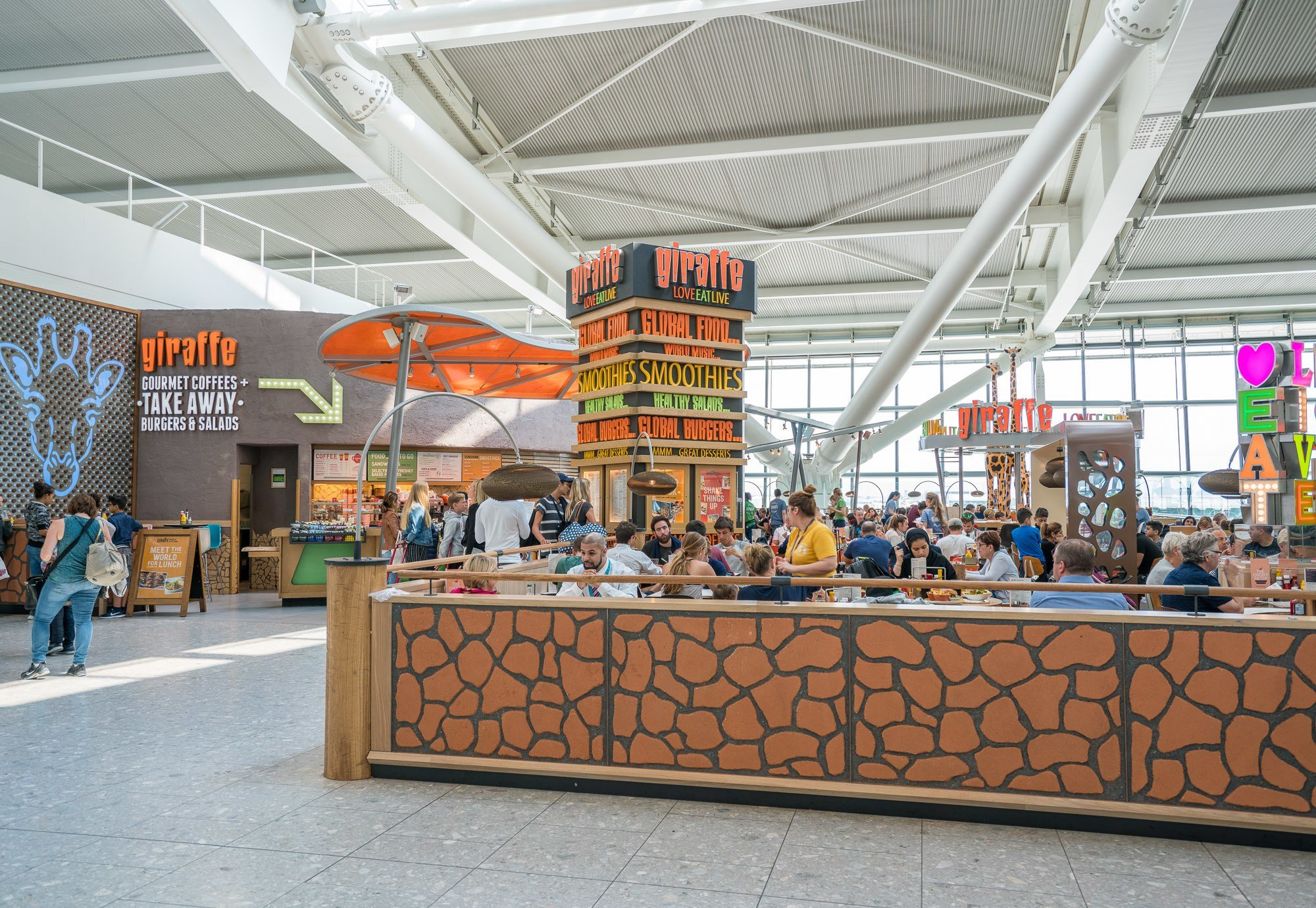 Giraffe is one of Heathrow Airport's family restaurants.