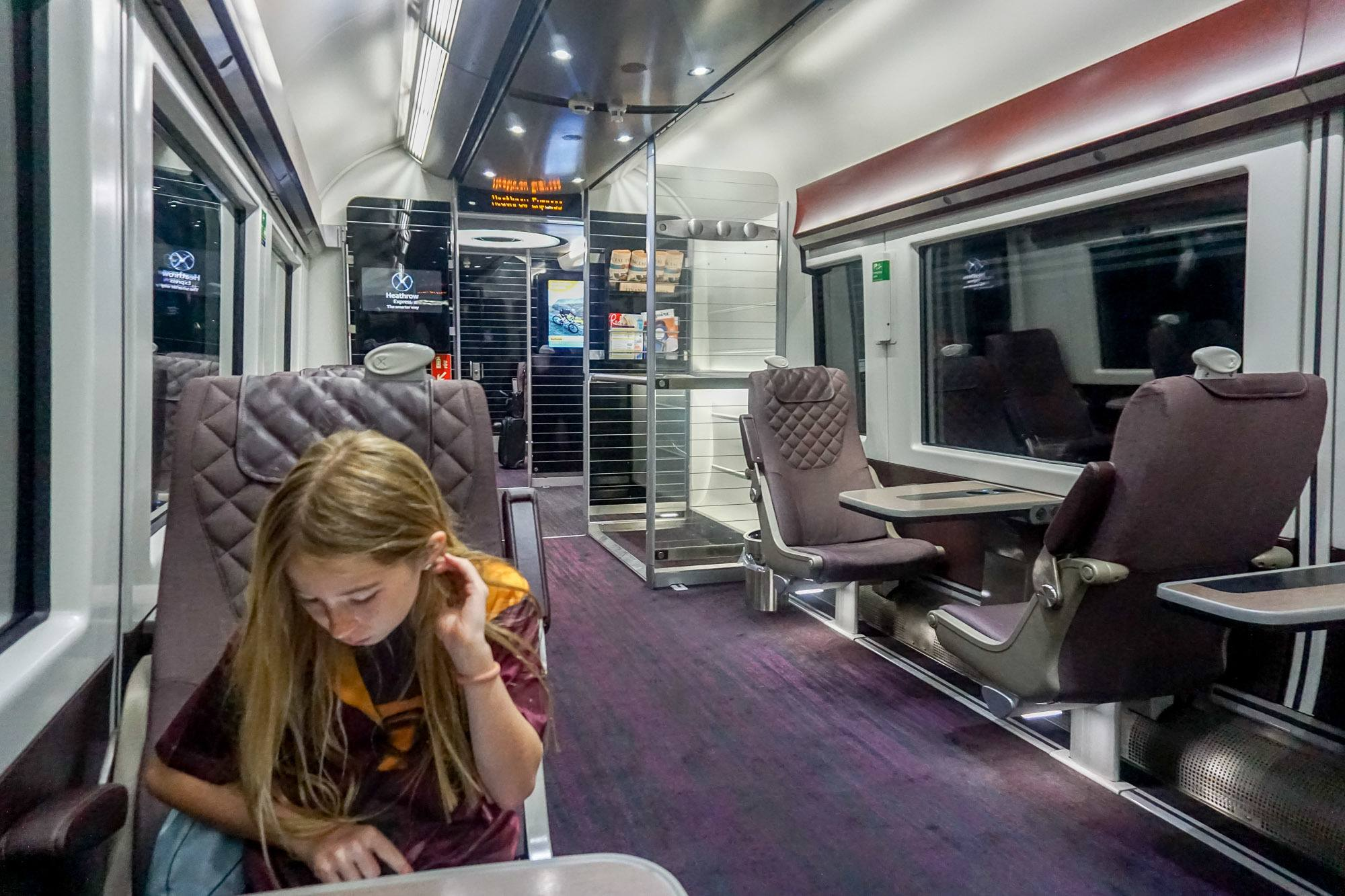 Kids under 15 ride free on the Heathrow Express to and from London.