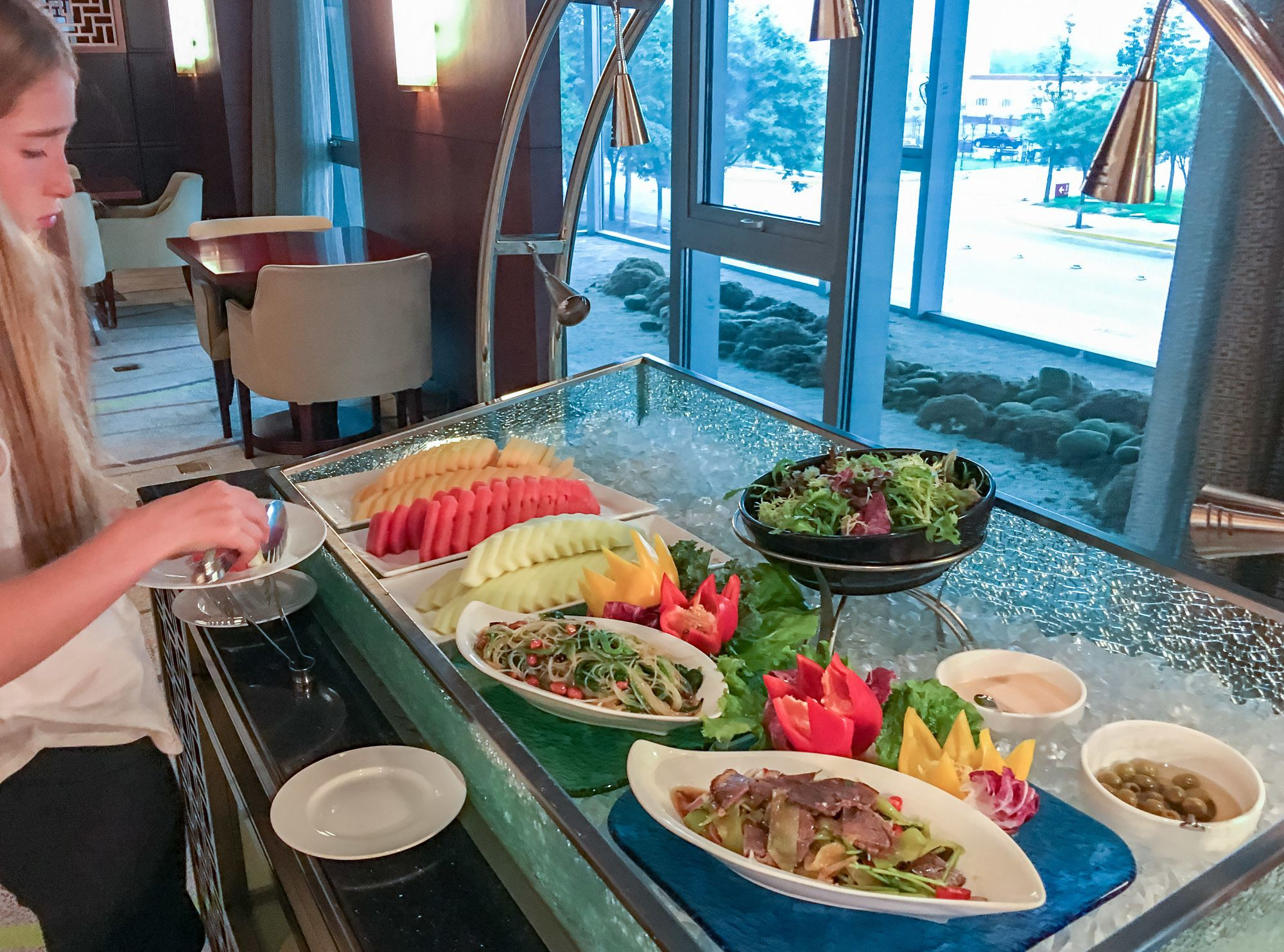 Salad offerings at the Hilton Beijing Capital Airport Club Lounge.
