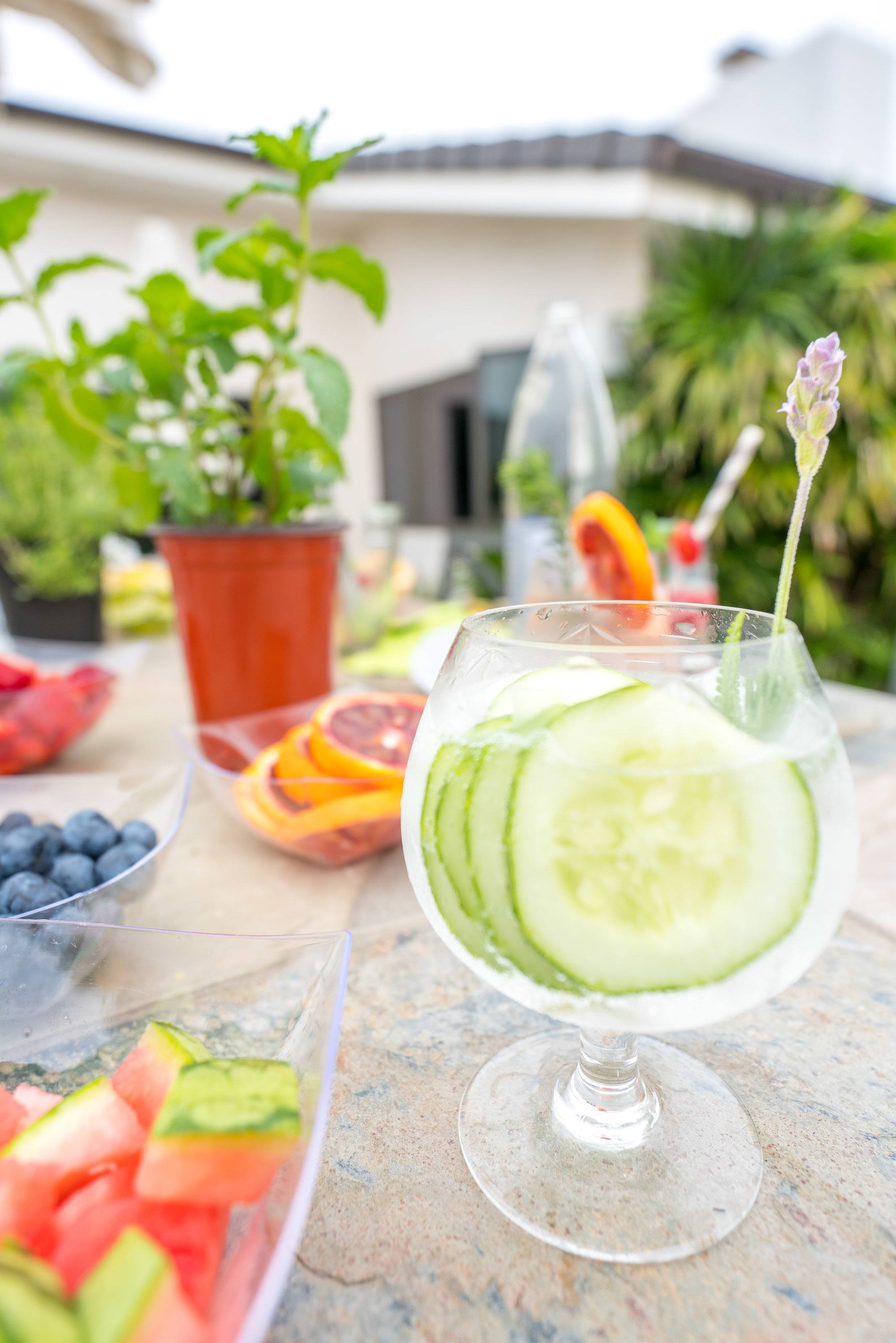 Lavender and cucumber sparkling water recipe.