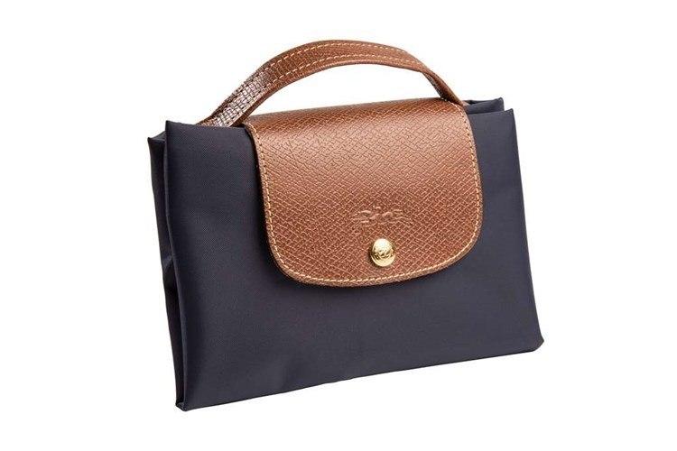 Black Longchamp foldable travel bag