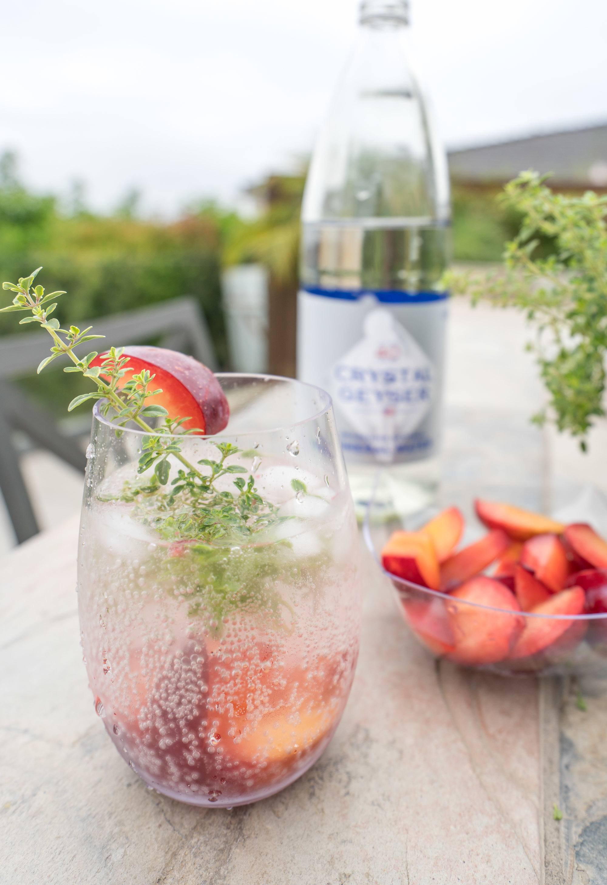 Plum and thyme sparkling water recipe