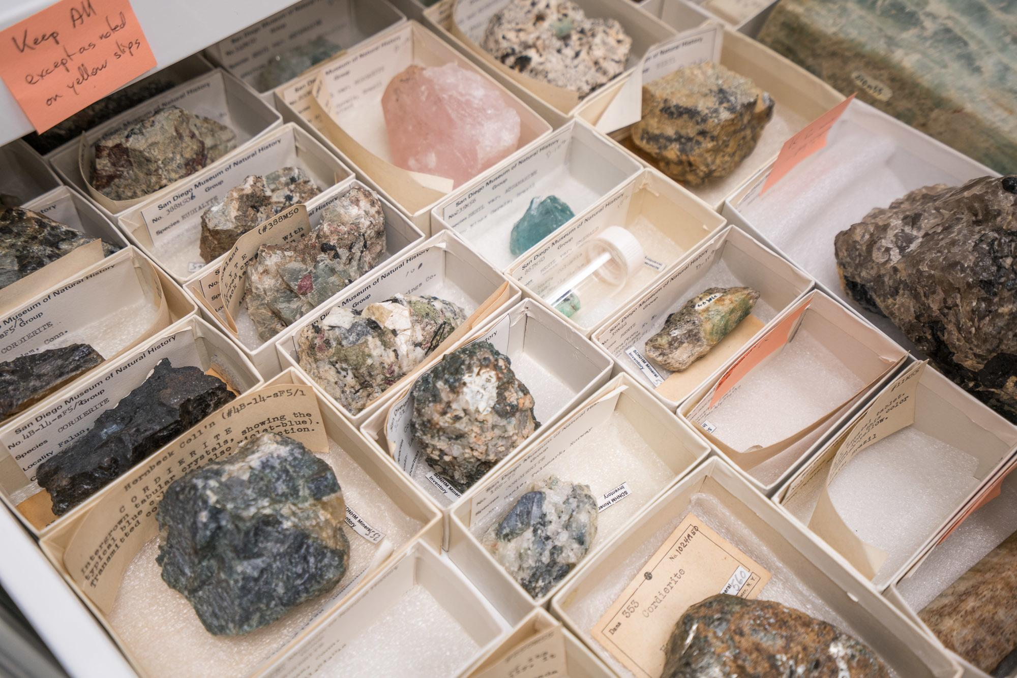 San Diego Natural History Museum has an extensive collection of local minerals.