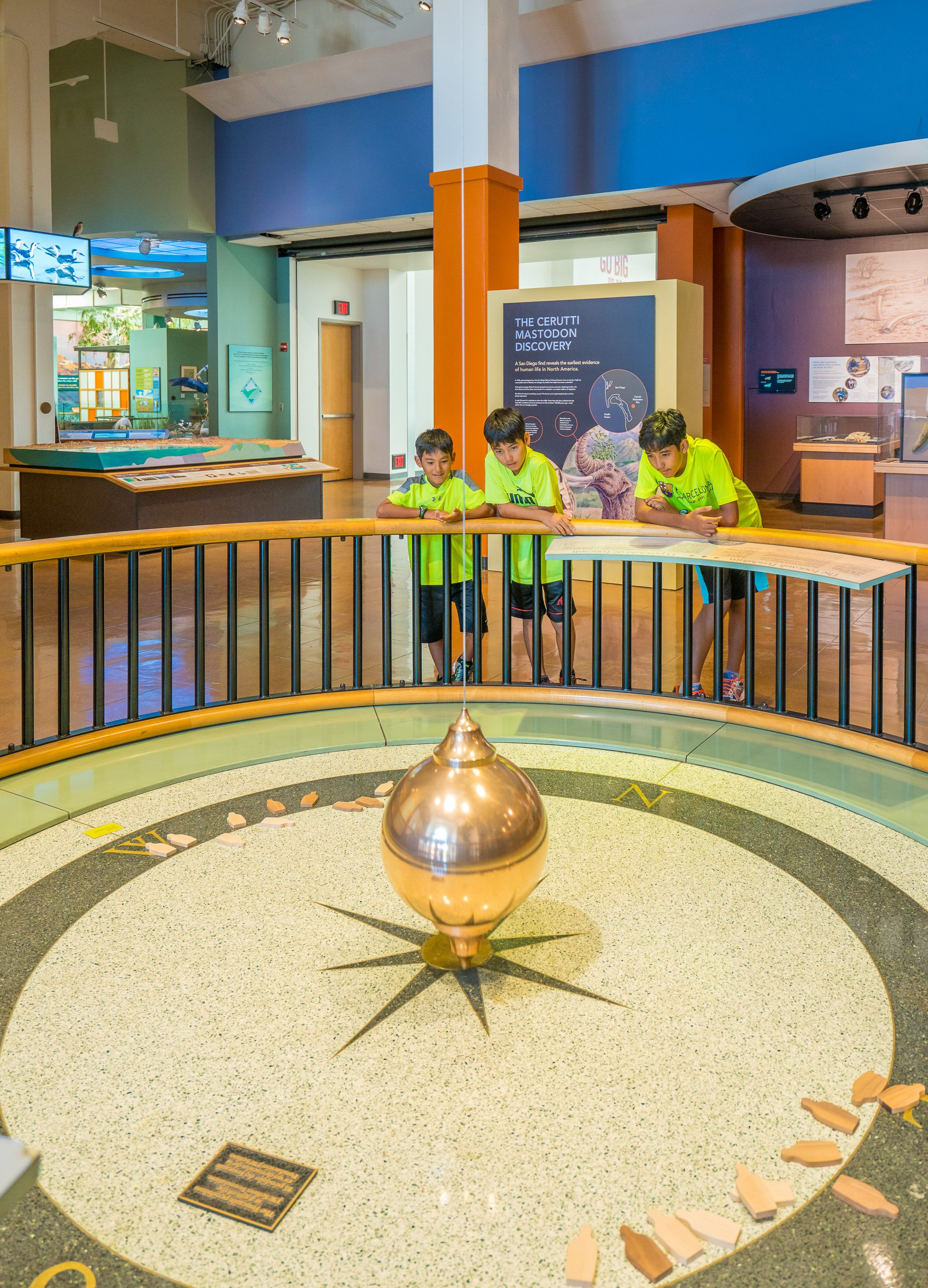 The Focault Pendulum at the San Diego Natural History Museum demonstrates the Earth's rotation.