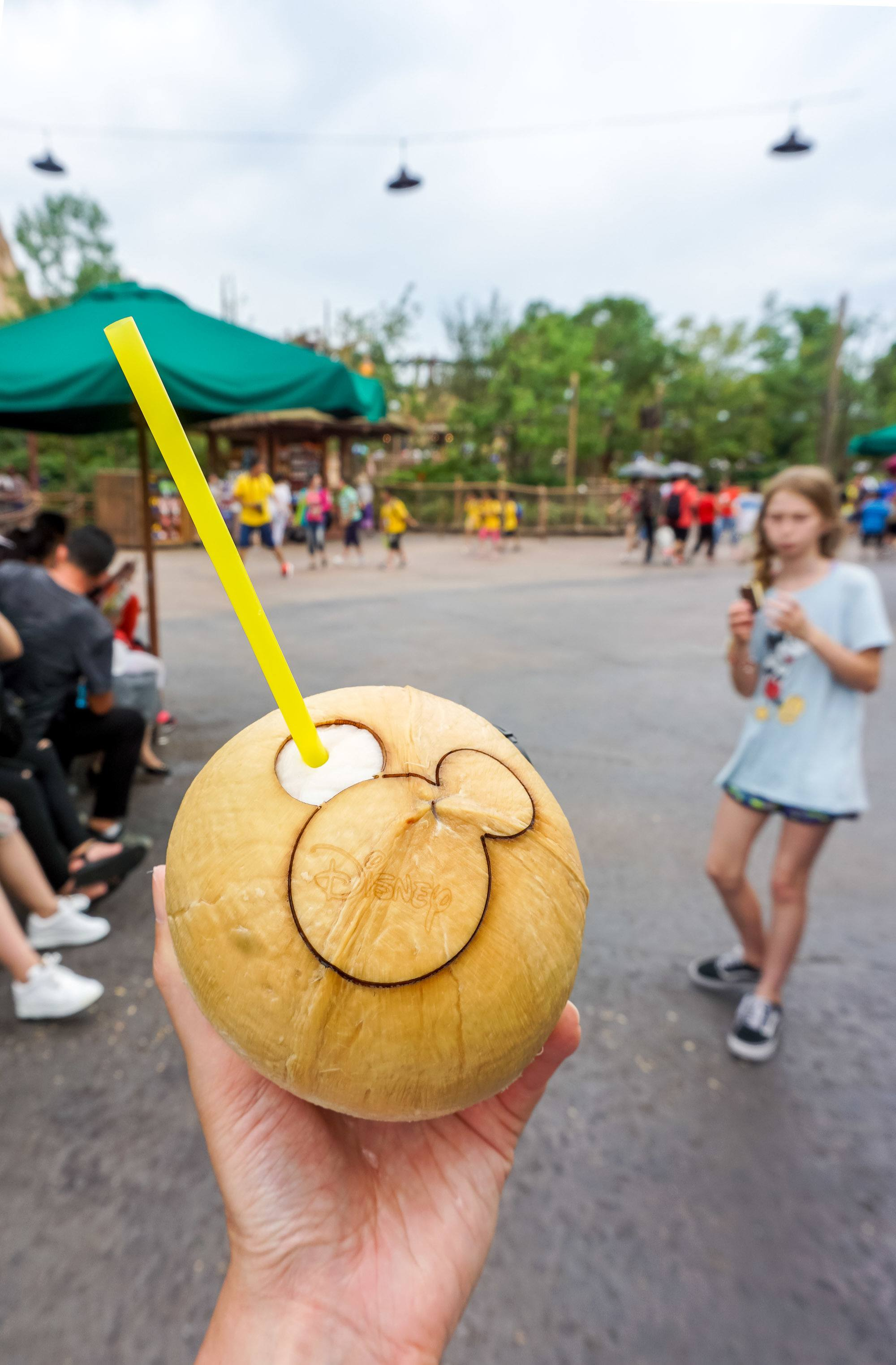 Coconut water at Shanghai Disneyland hydrates you in the heat of summer at this popular China theme park.