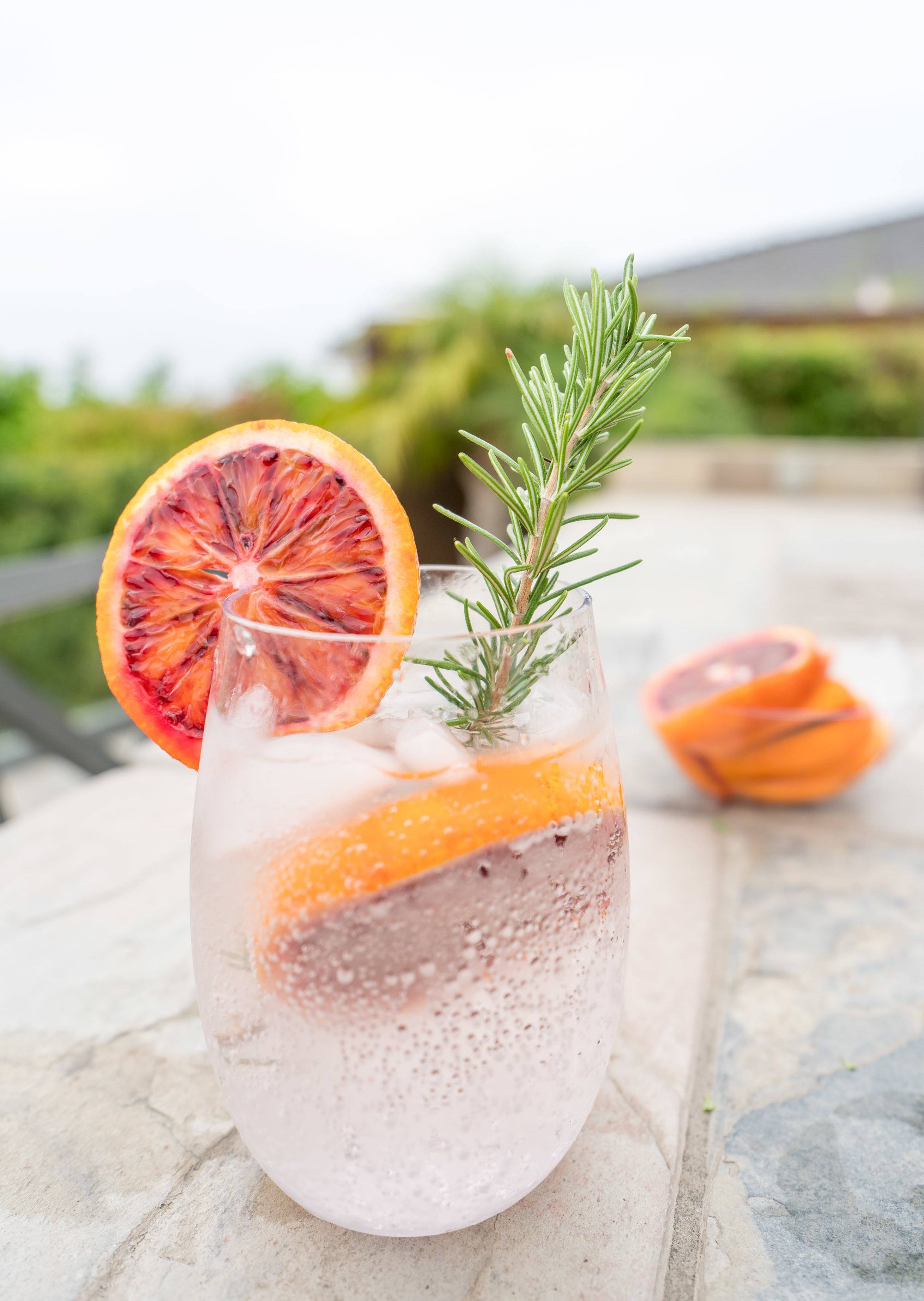 Blood orange and rosemary sparkling water recipe.
