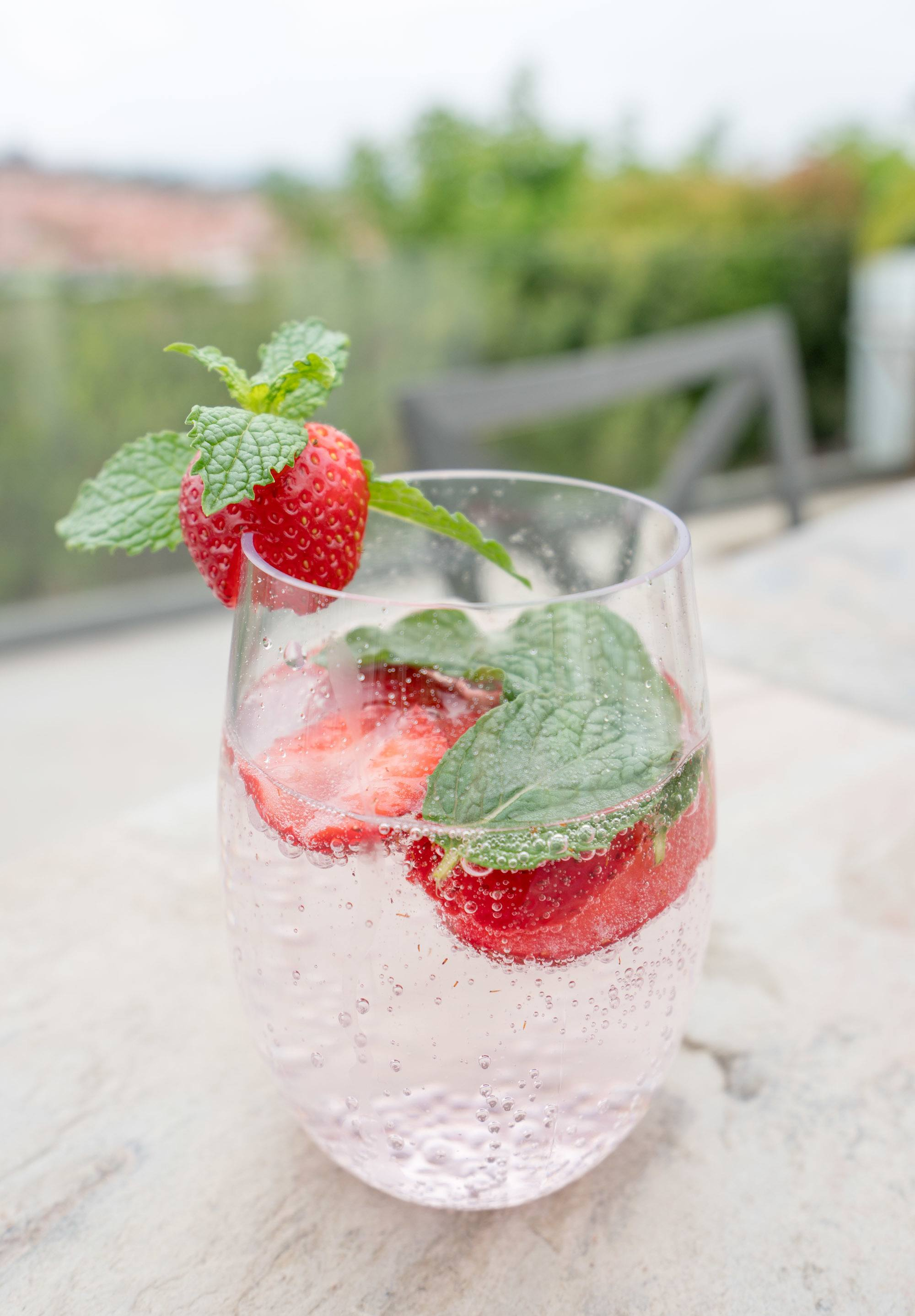 Strawberry and mint make an excellent sparkling water recipe.