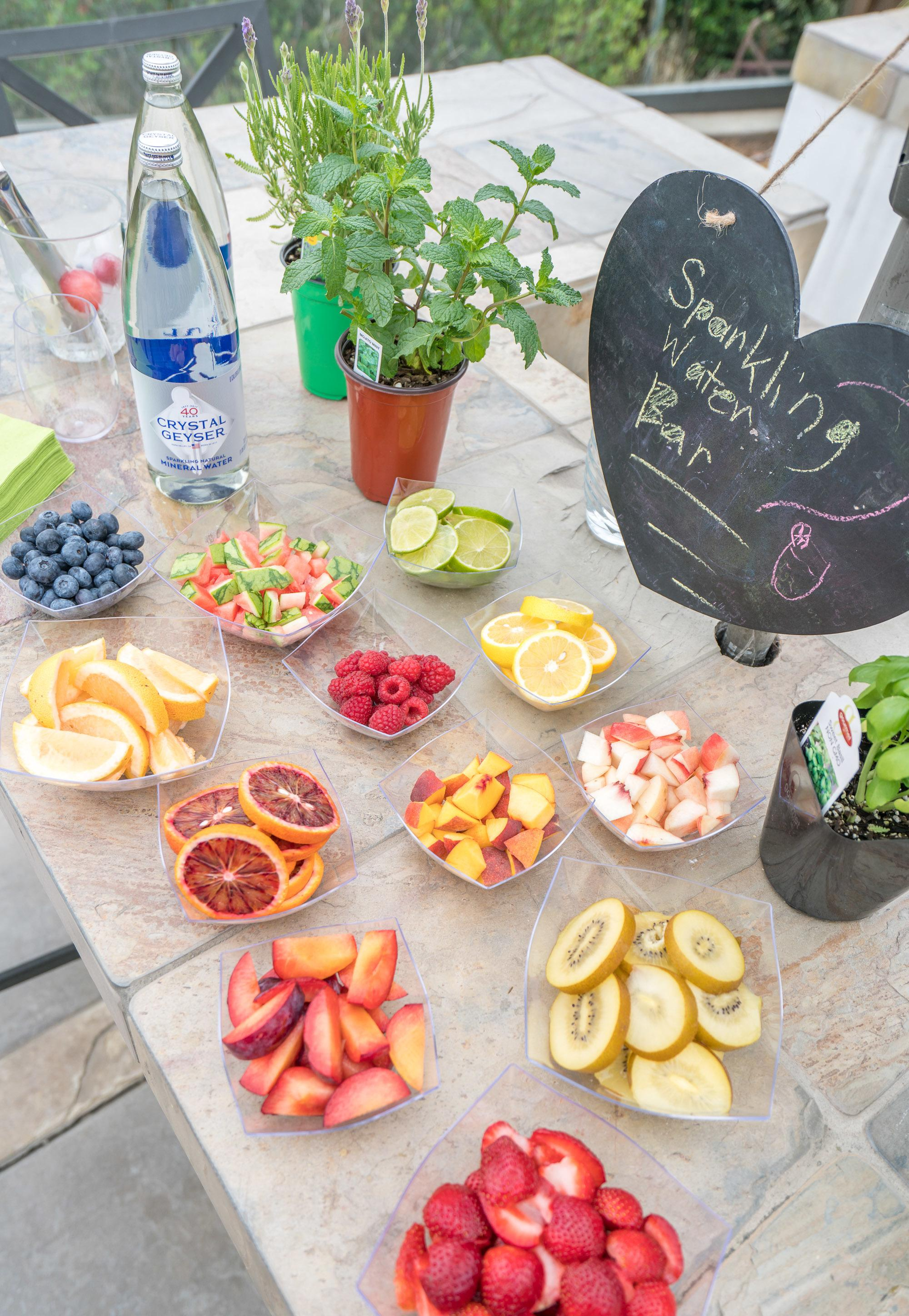 Ingredients for a DIY sparkling water bar that is perfect for parties.