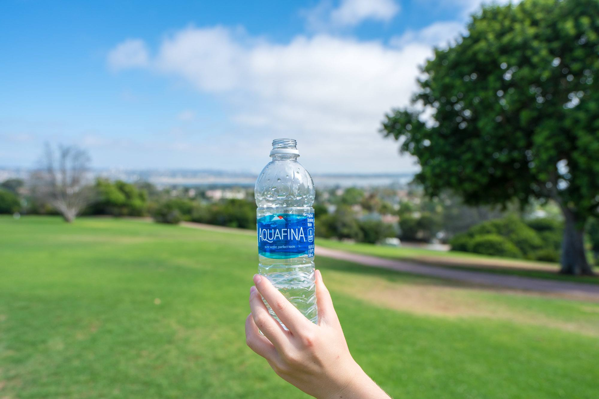 Aquafina water at Kate Sessions Park in Pacific Beach, San Diego.