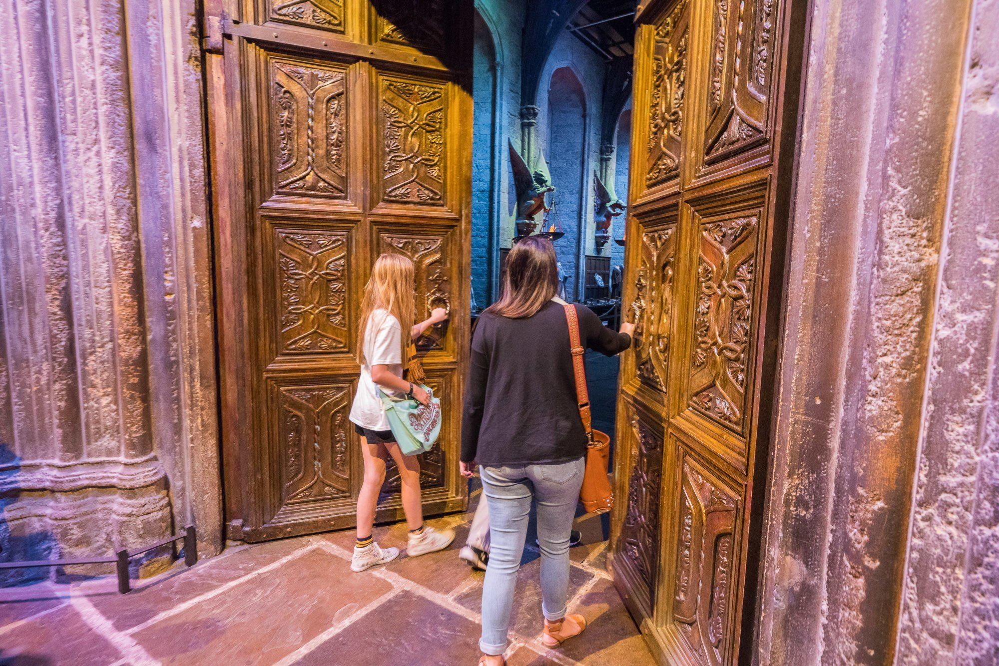 A review of the Warner Bros. Studio Tour London - someone gets to open the doors to the Great Hall.