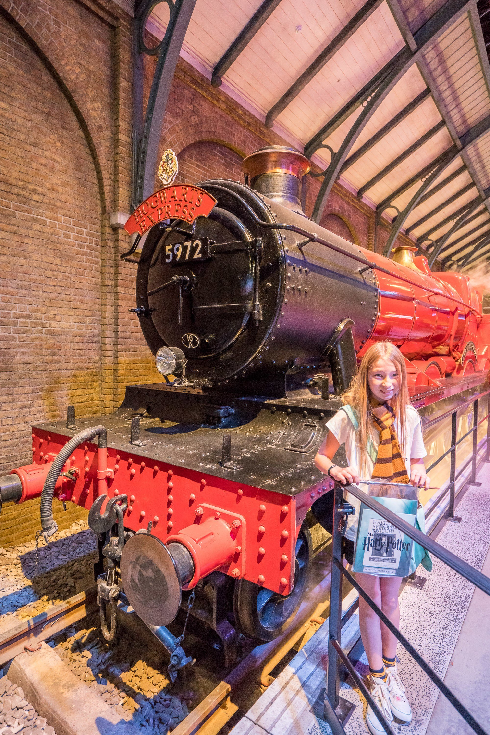 The Hogwarts Express at Warner Bros. Studios London where they filmed the Harry Potter movies.