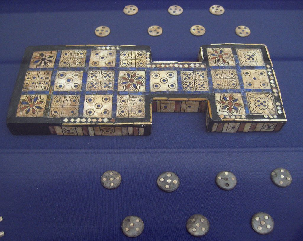 The world's first board game, the Royal Game of Ur, is on display at the British Museum.