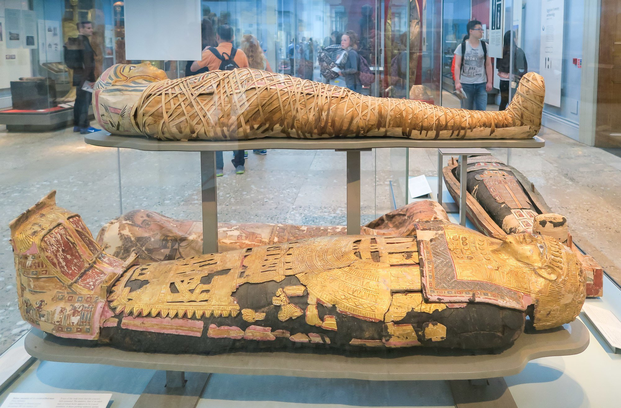 Among the most iconic objects on public display at the British Museum, several adjoining rooms contain an eye-popping display of Ancient Egyptian mummies, coffins, funerary masks and other burial and funerary items.
