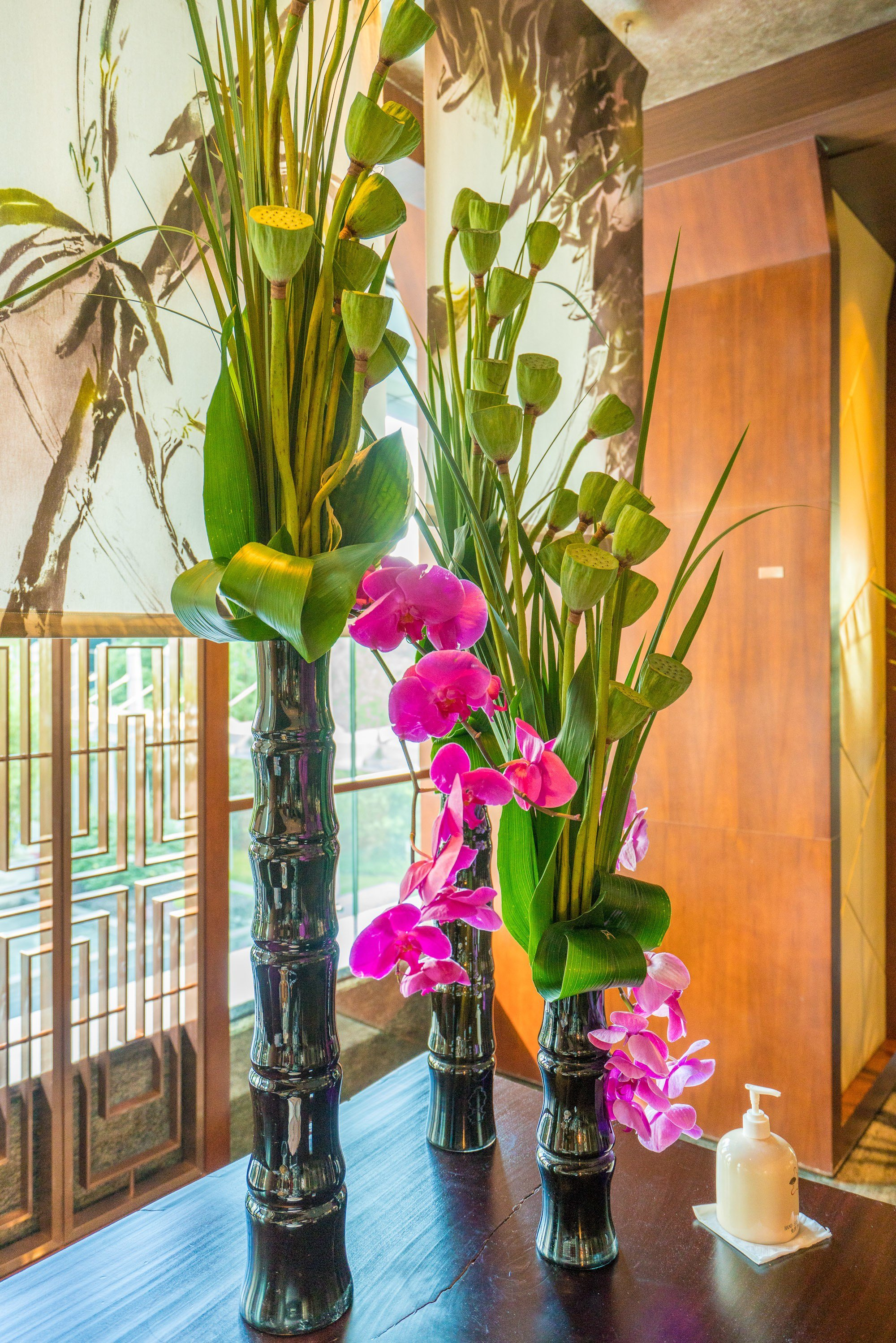 Orchids in a Club Lounge arrangement at Mandarin Oriental Pudong, Shanghai.