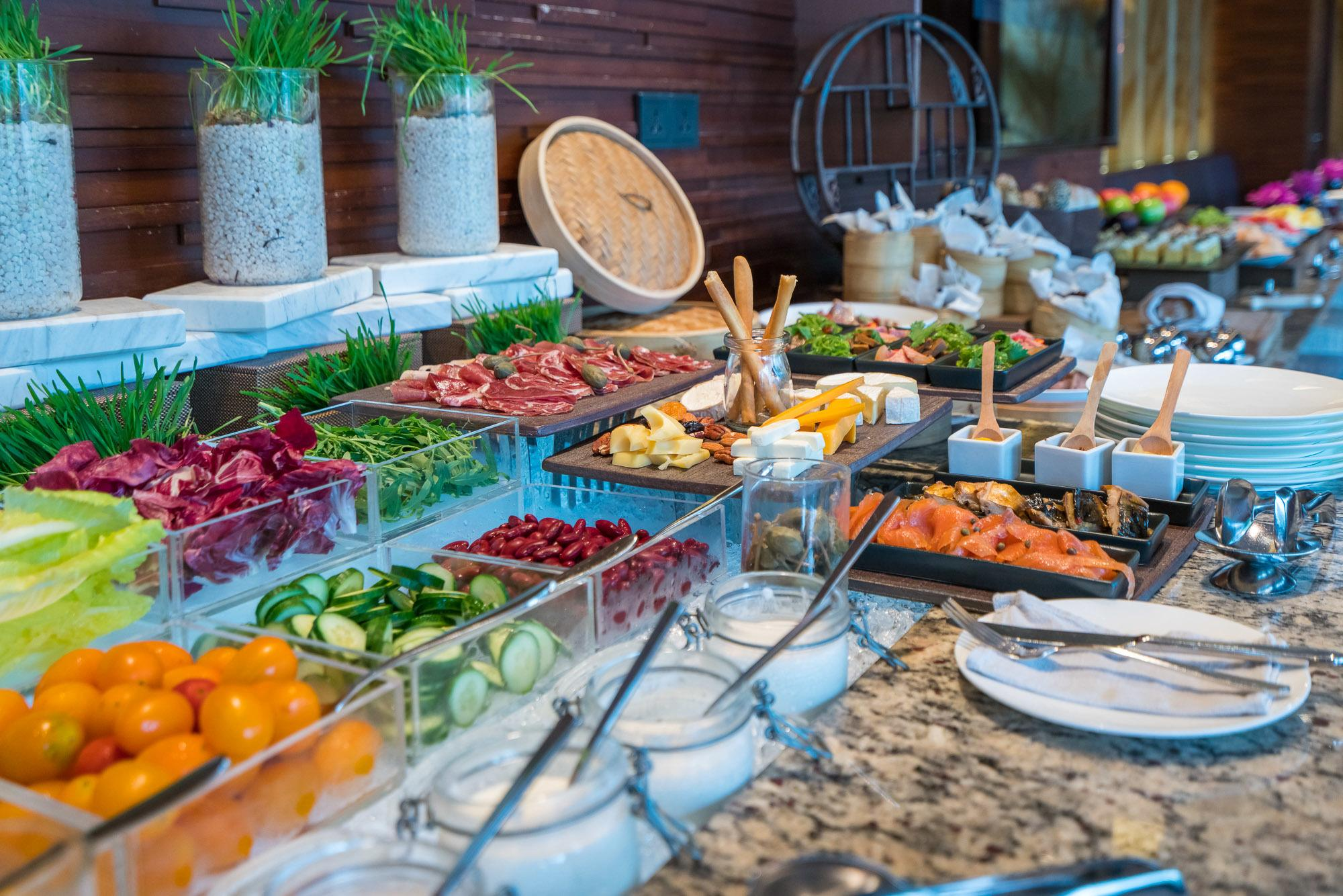 Salad and regional selections at the Mandarin Oriental Pudong, Shanghai Club Lounge buffet.