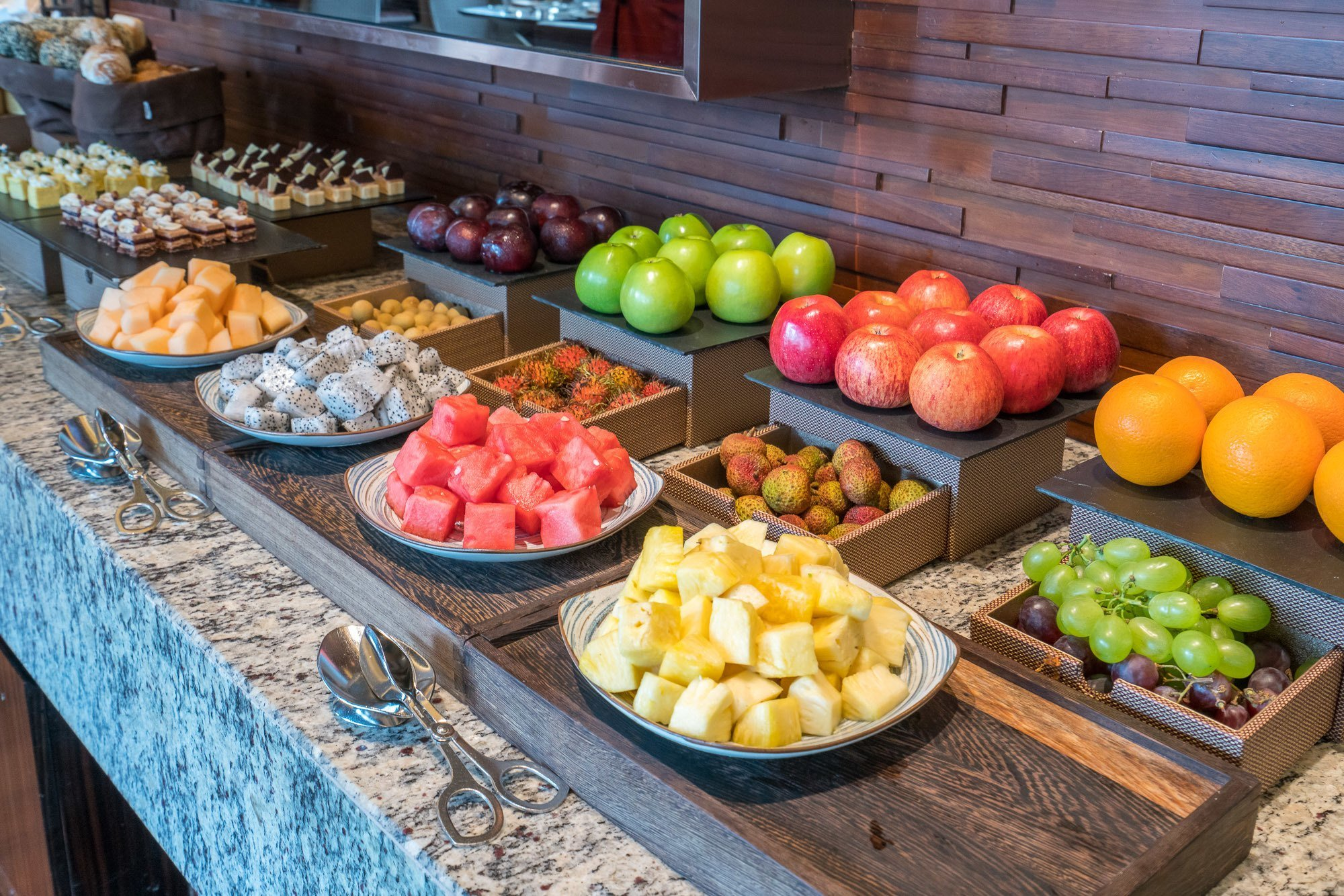 A lovely buffet of fruit was part of daily breakfast at the Mandarin Oriental Pudong, Shanghai Club Lounge.