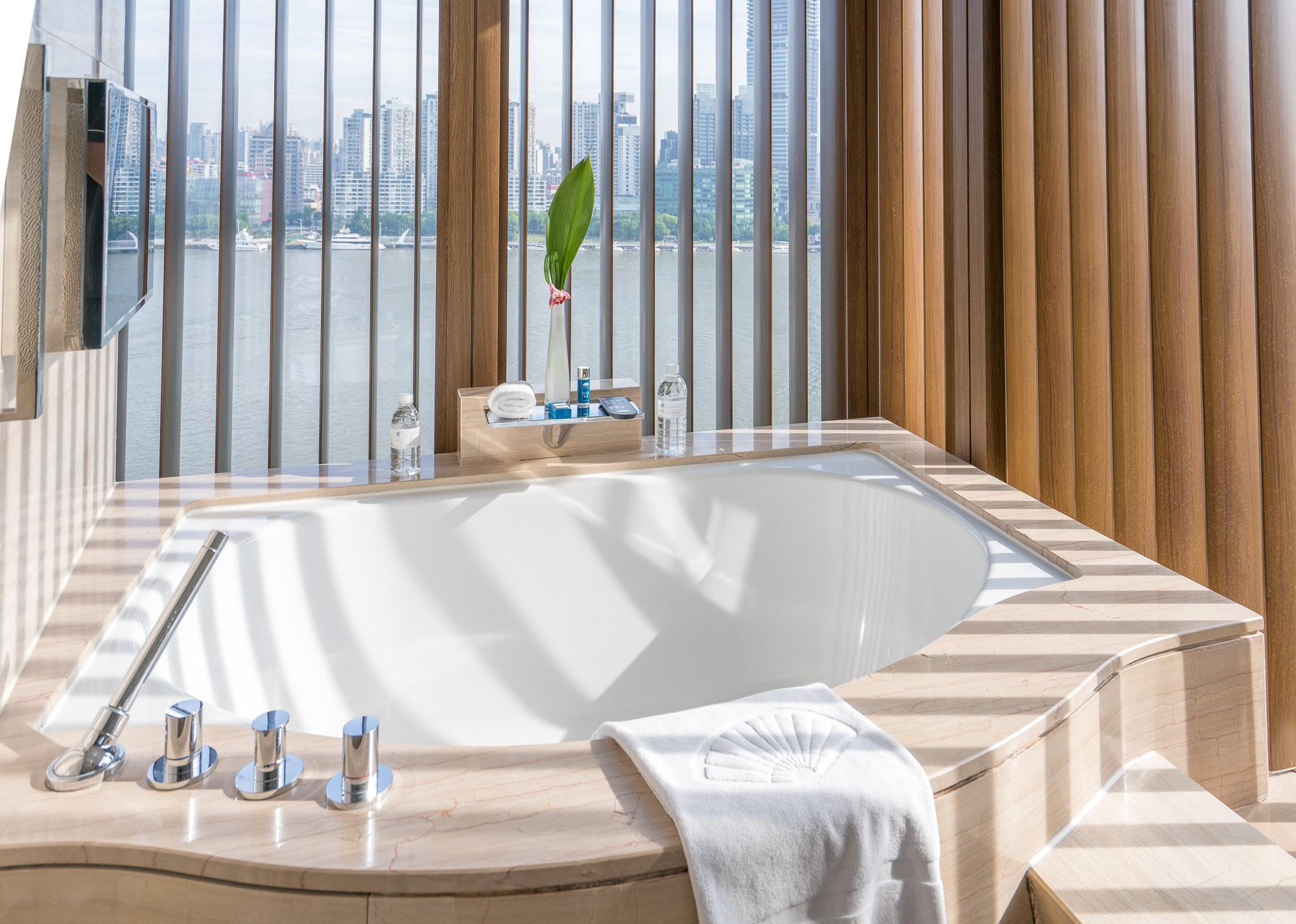 The views even from the bathtub at Mandarin Oriental Pudong, Shanghai are amazing.