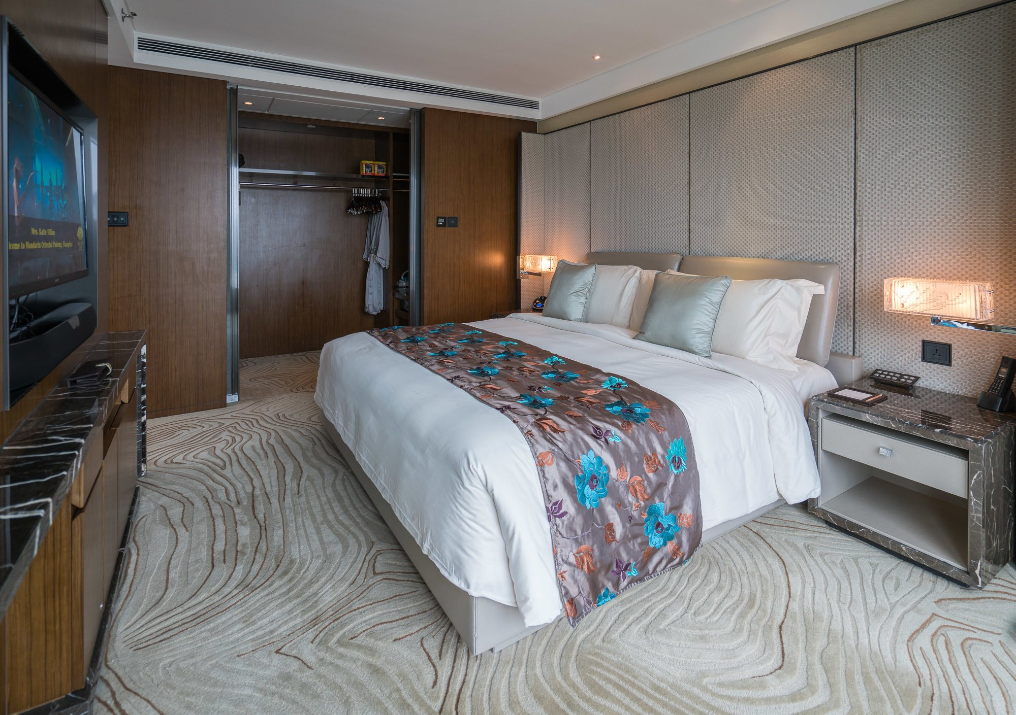 The gorgeous bedroom in a Club Level Suite at Mandarin Oriental Pudong, Shanghai.