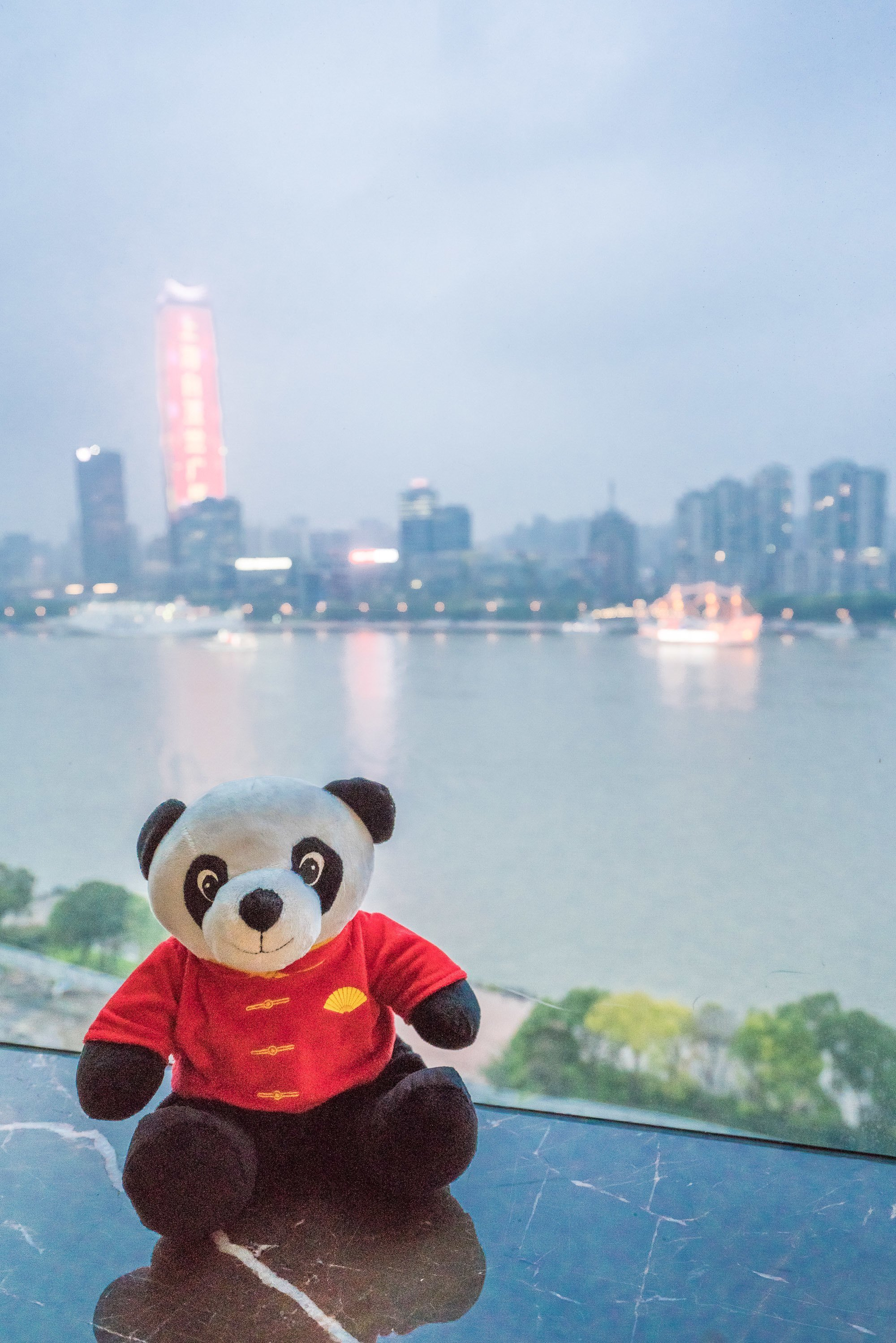 Momo the Panda and the view from Mandarin Oriental Pudong, Shanghai.