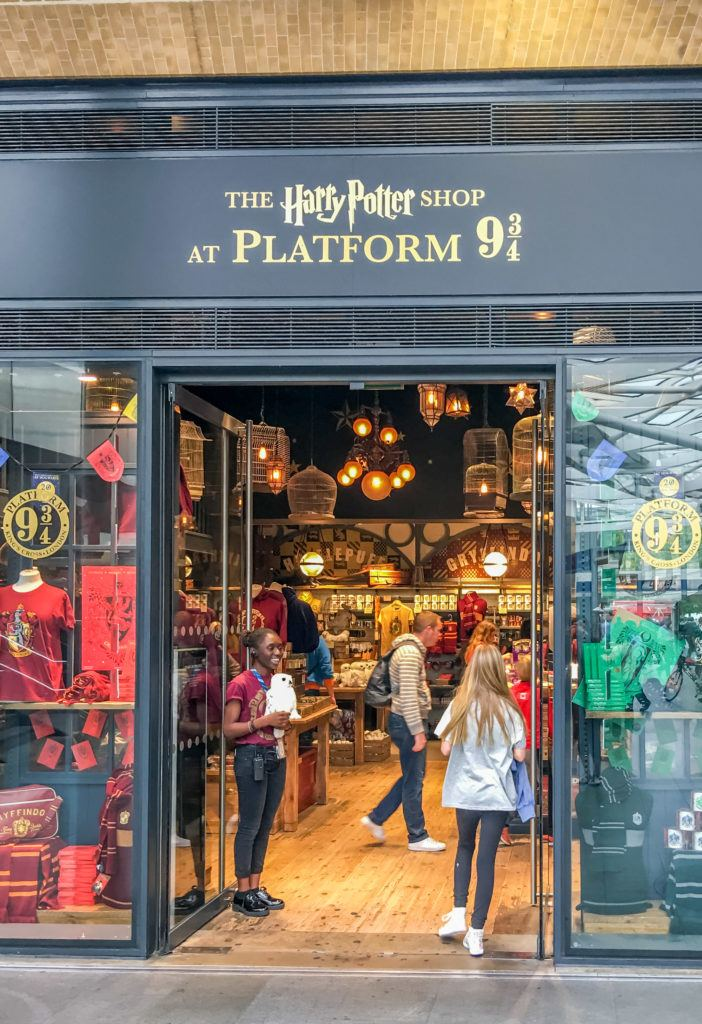 The entrance to the Harry Potter Platform 9 3/4 Shop at Kings Cross station in London.
