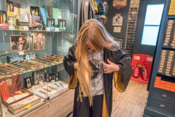 The Platform 9 3/4 Shop at Kings Cross station is a must-visit for Harry Potter fans.