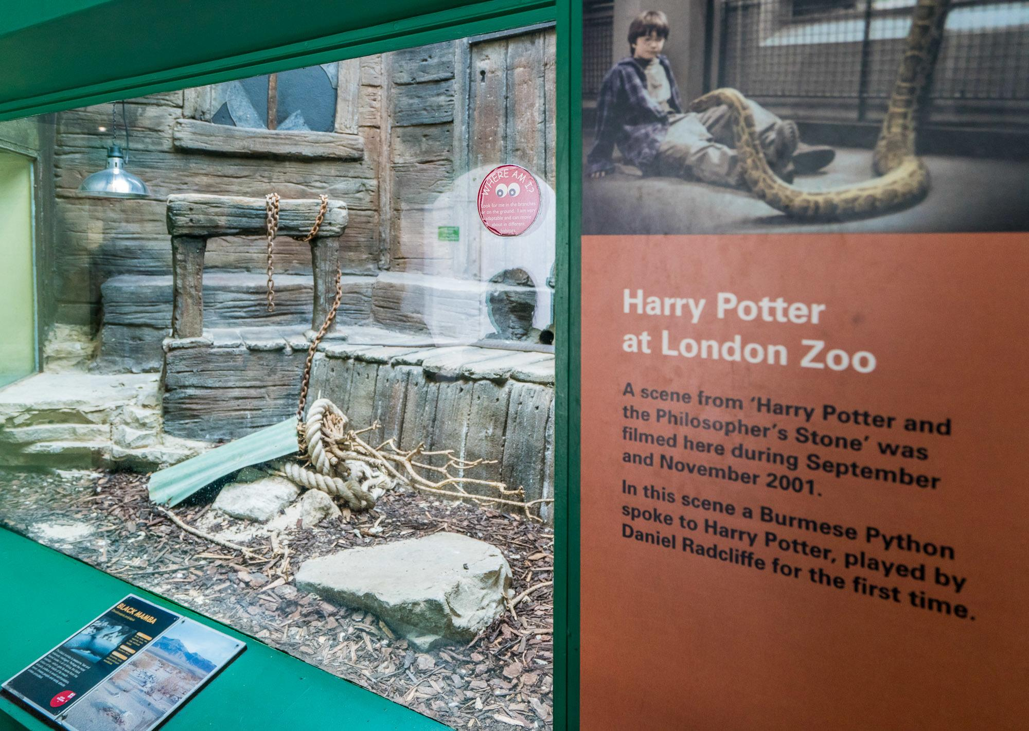 The Reptile House at London Zoo is where a scene from the first Harry Potter movie was filmed.