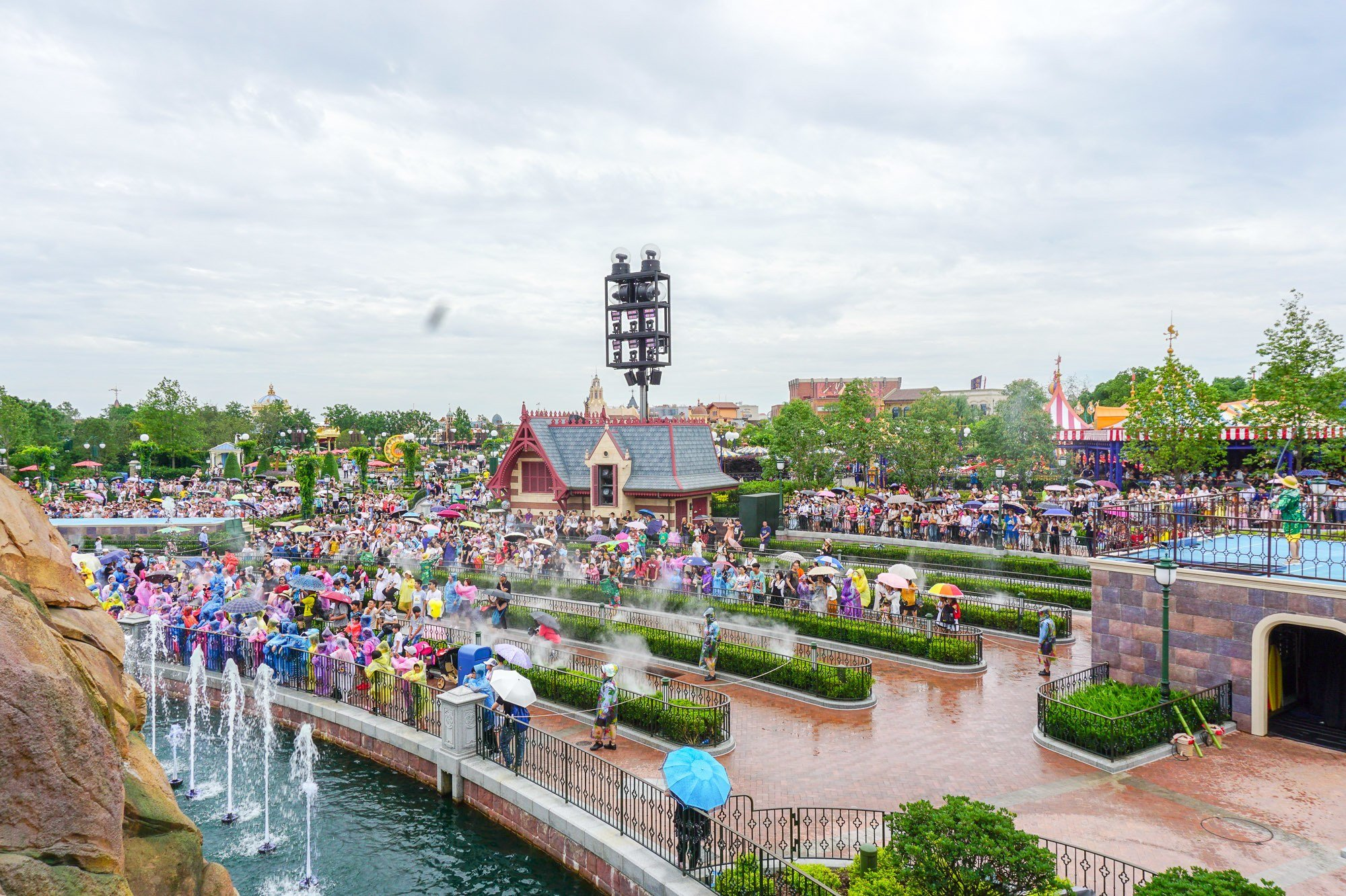 "The Shanghai Disneyland castle show called ""Summer Blast"" used water displays to help cool down guests."