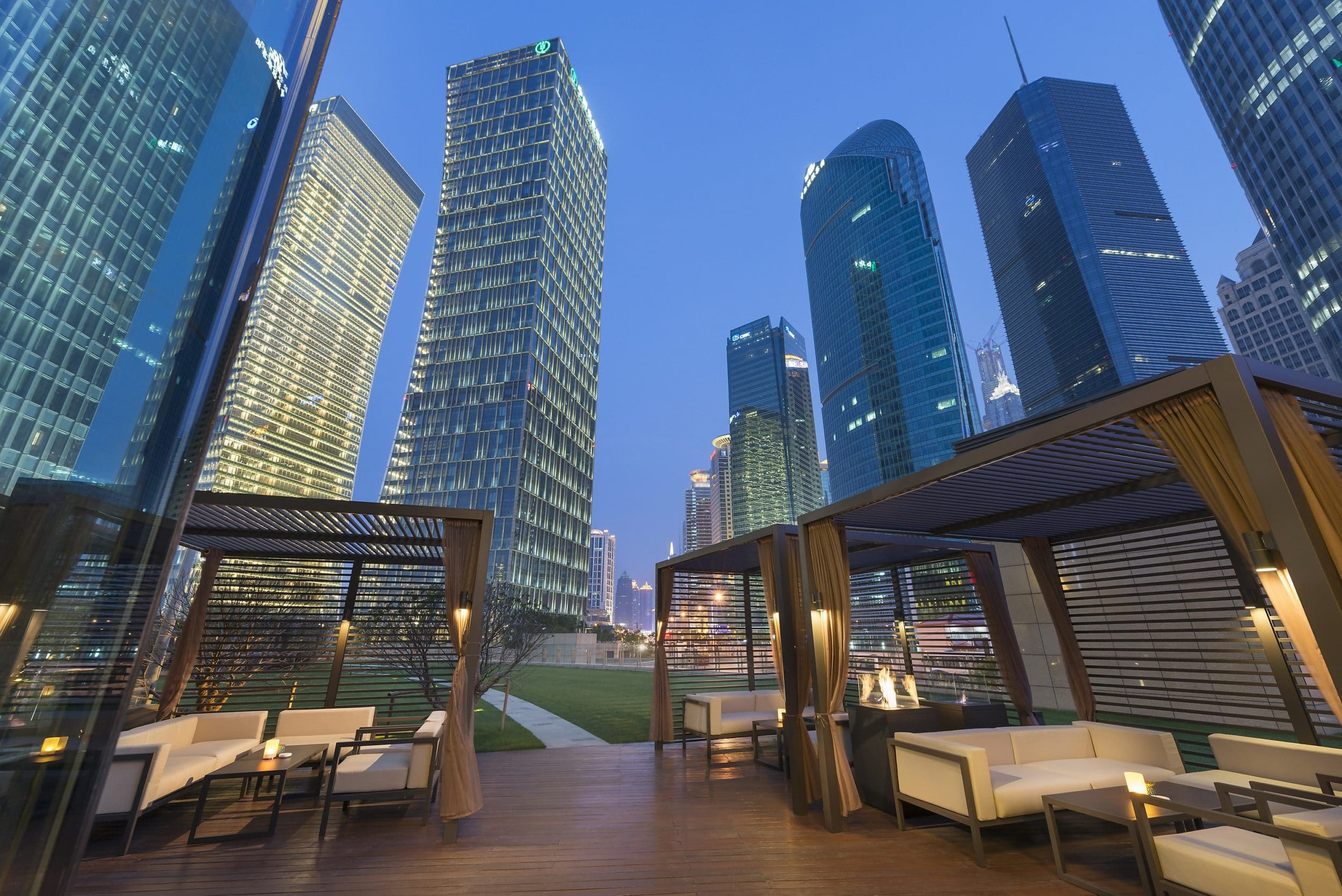 The gorgeous outdoor terrace at Qi Bar, part of Mandarin Oriental Pudong, Shanghai.
