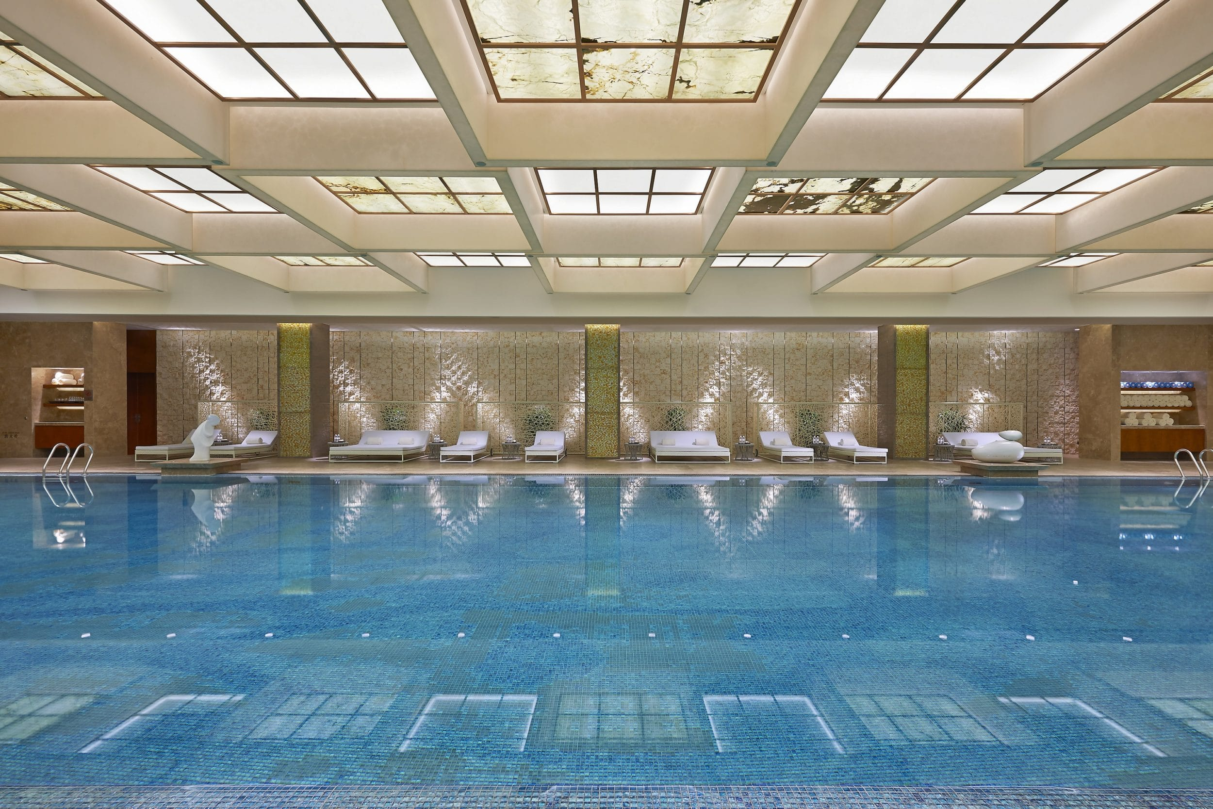The pool at Mandarin Oriental Pudong, Shanghai, one of my favorite luxury hotels.