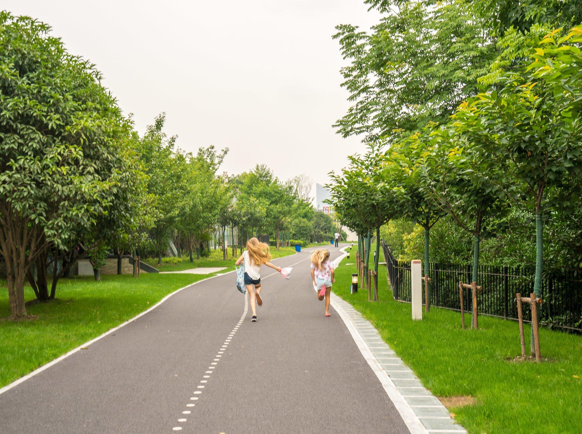 A nice jogging/biking path along the Huangpu River in Shanghai.
