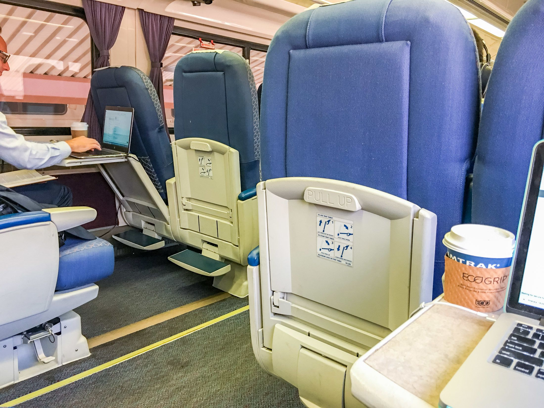 Seats in Amtrak business class on the Pacific Surfliner from San Diego to Santa Barbara.