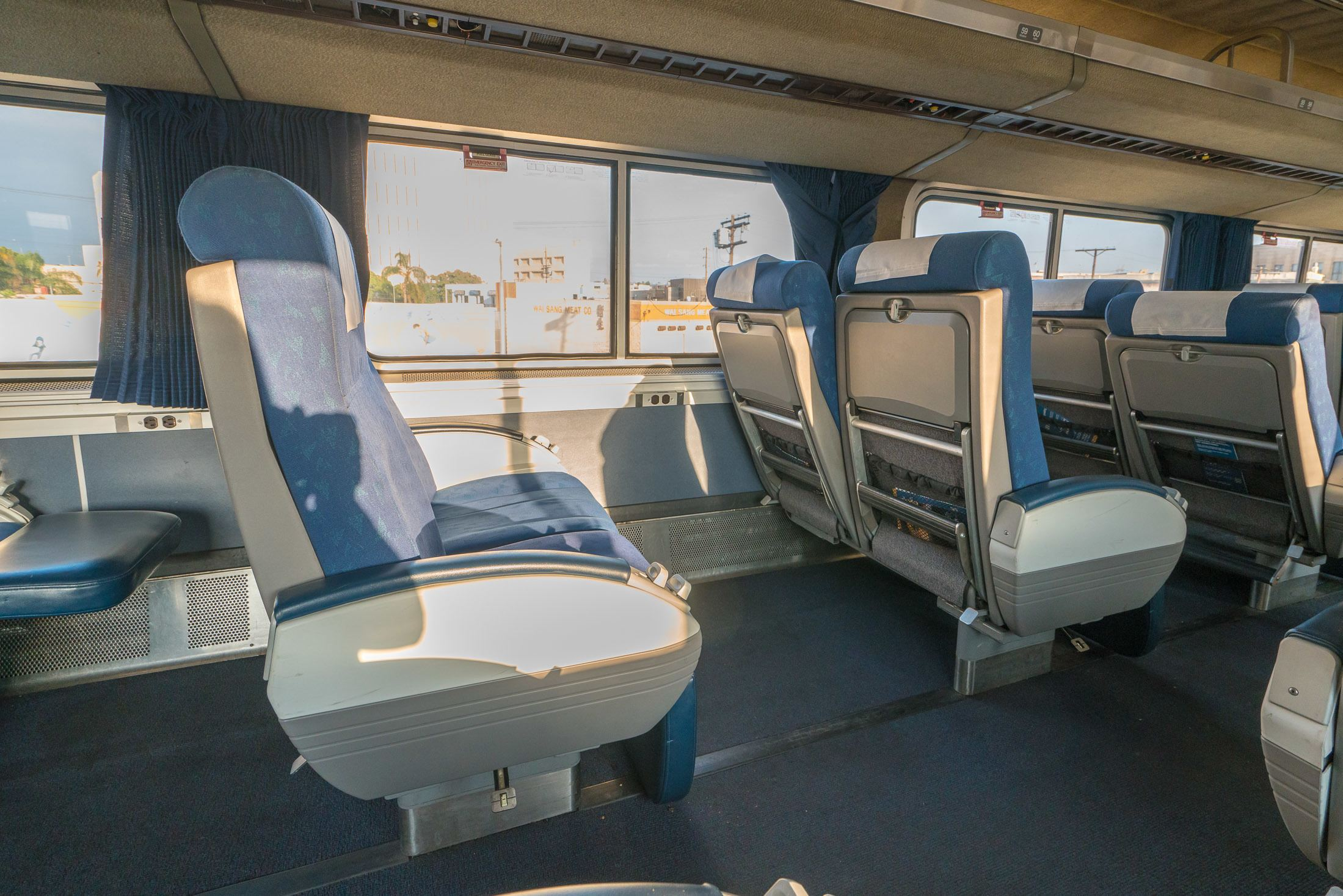 Seats in Amtrak business class on the Pacific Surfliner train.