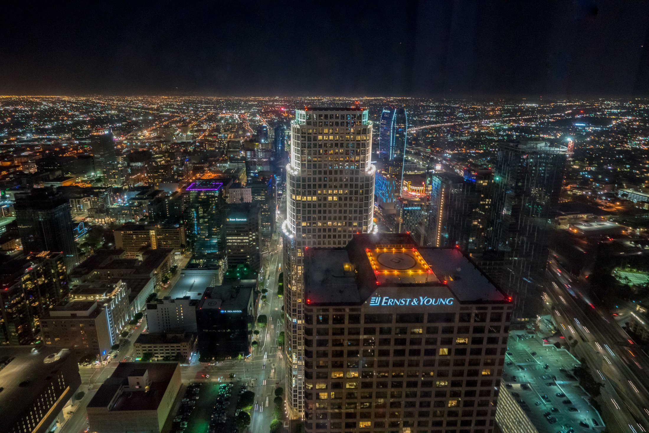 The night view at InterContinental Los Angeles Downtown.